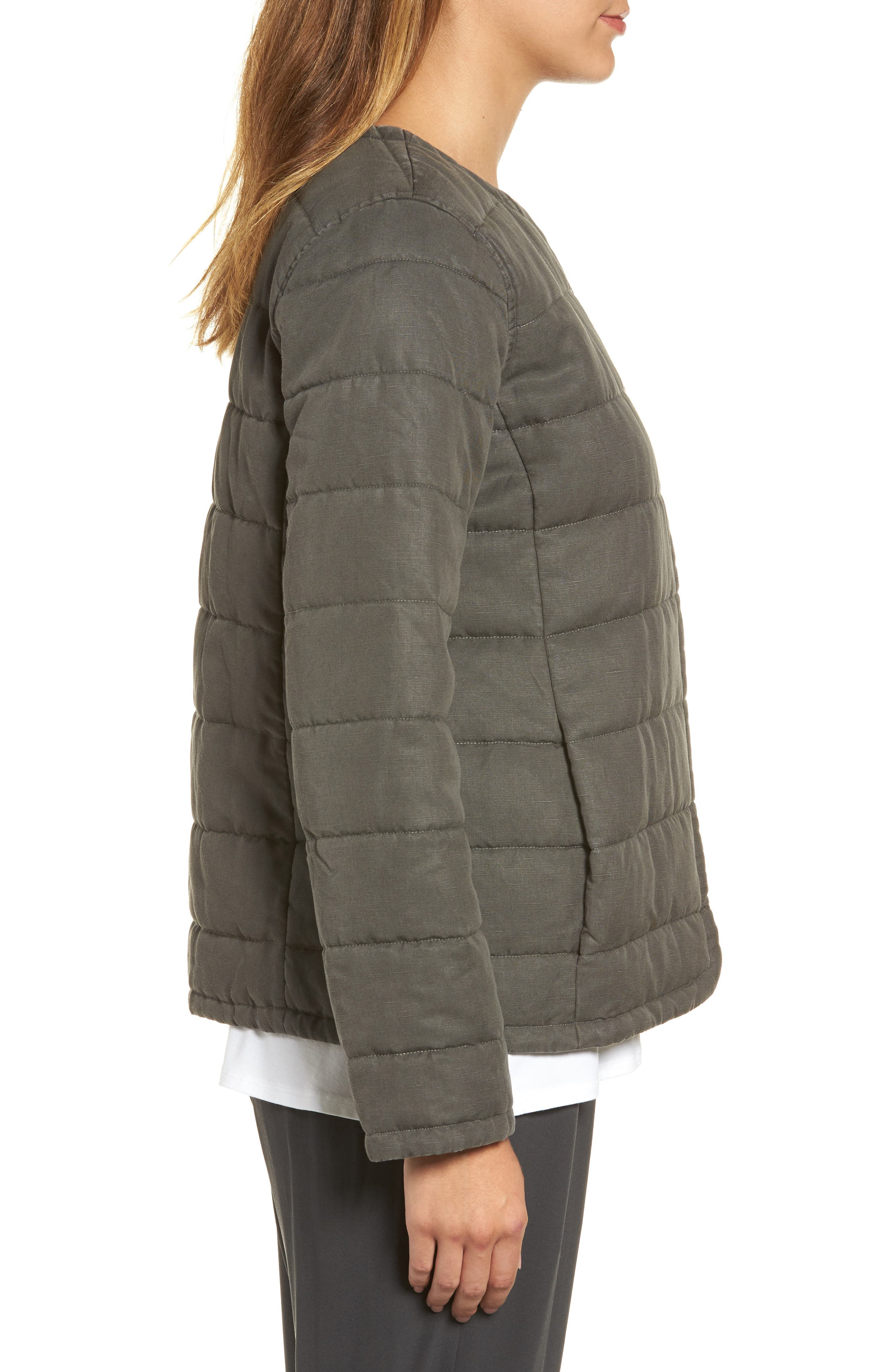 Collarless Quilted Jacket,                             Alternate thumbnail 3, color,                             Bark