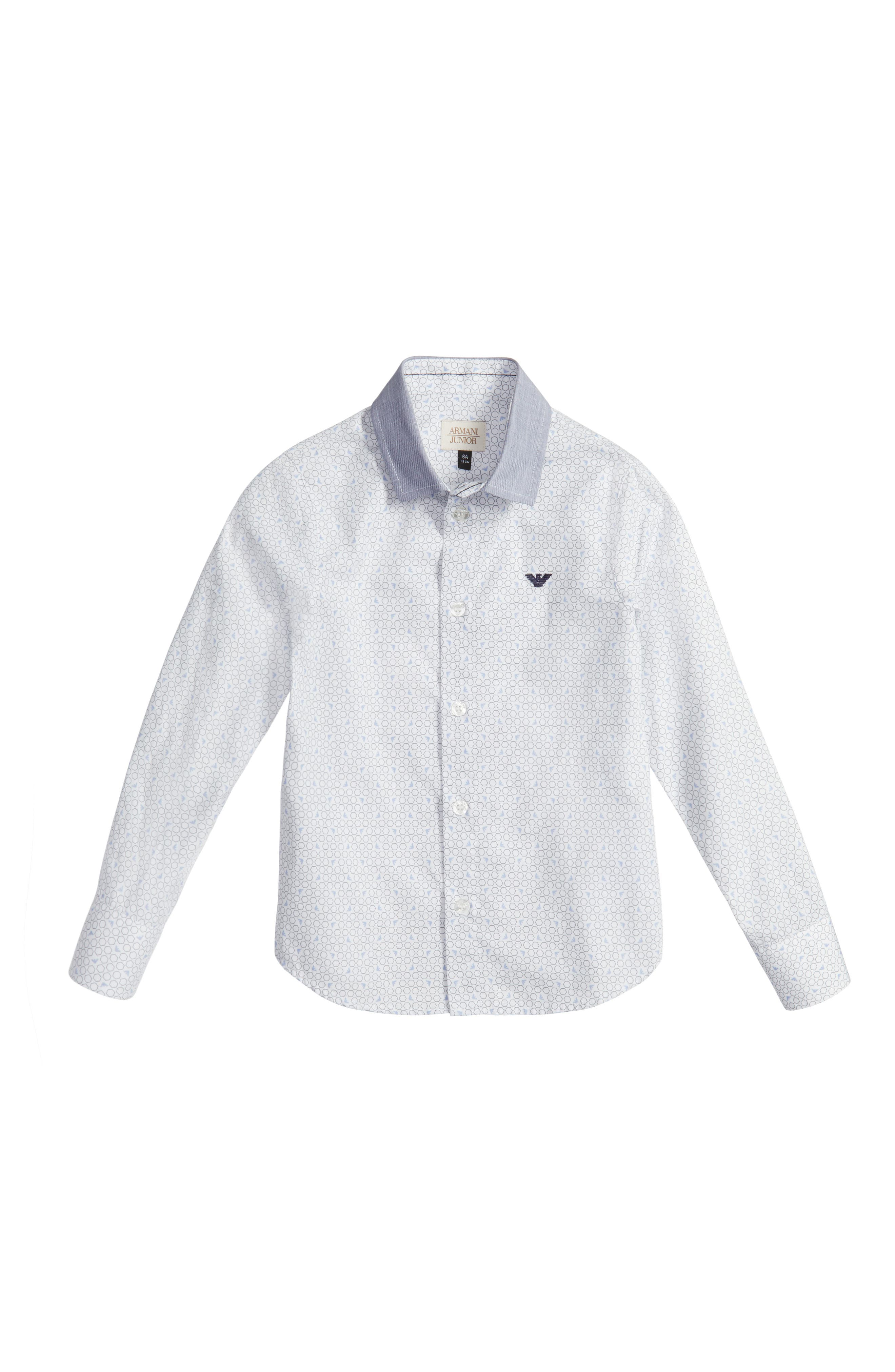 Main Image - Armani Junior Geo Print Dress Shirt (Little Boys & Big Boys)