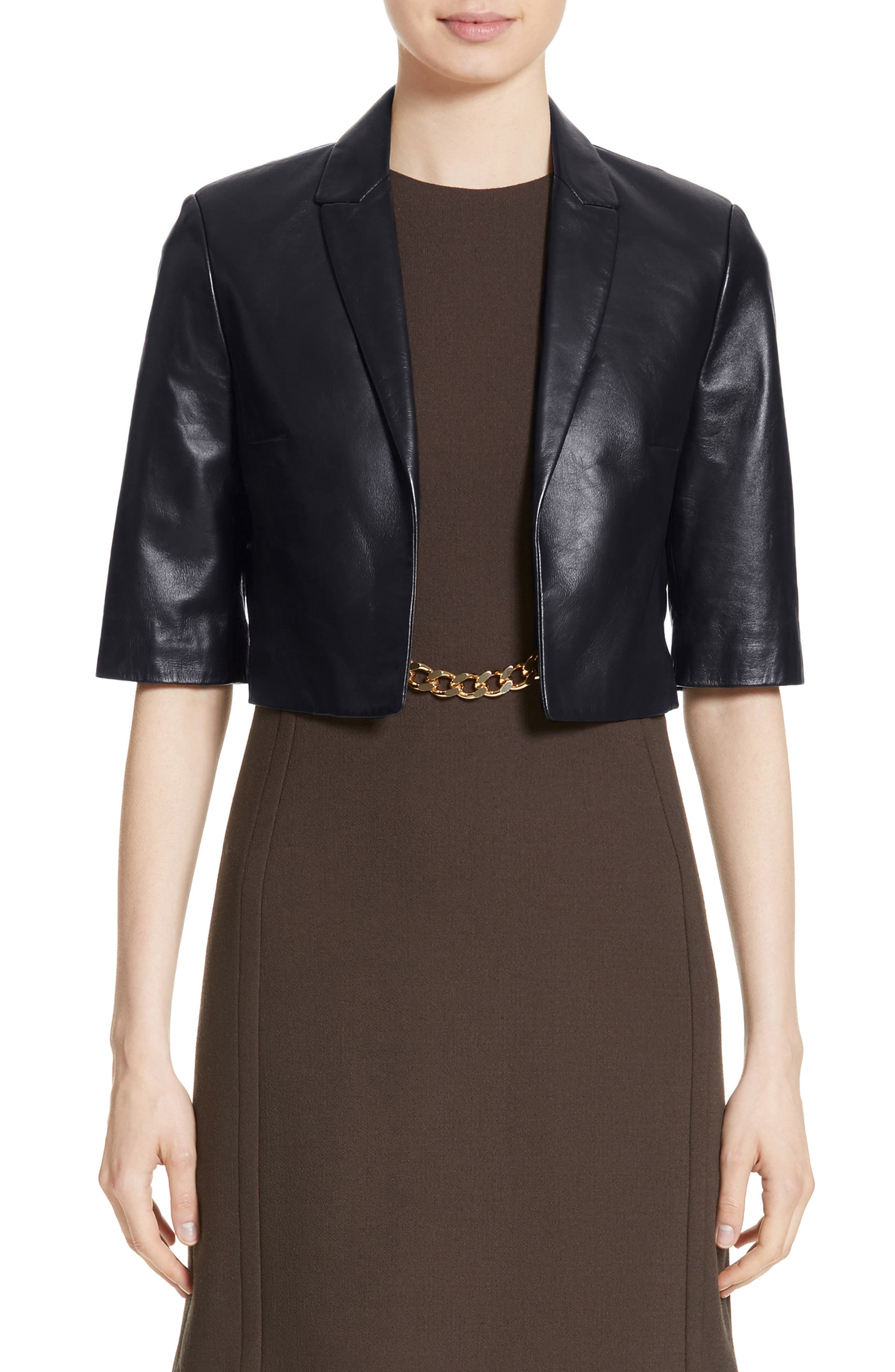 Michael Kors Crop Plongé Leather Jacket