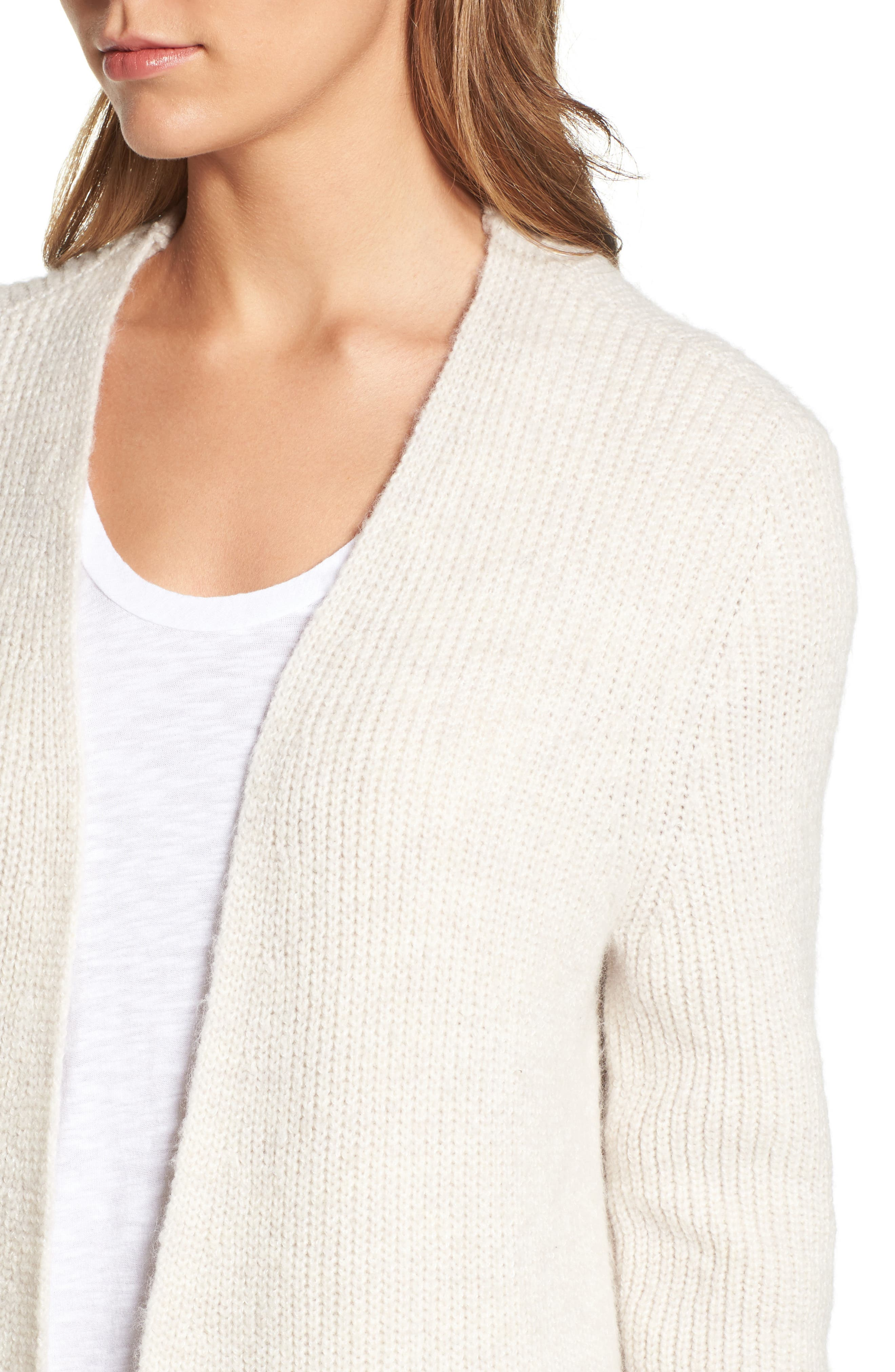 Alternate Image 2  - Halogen® Long Ribbed Cardigan (Regular & Petite)
