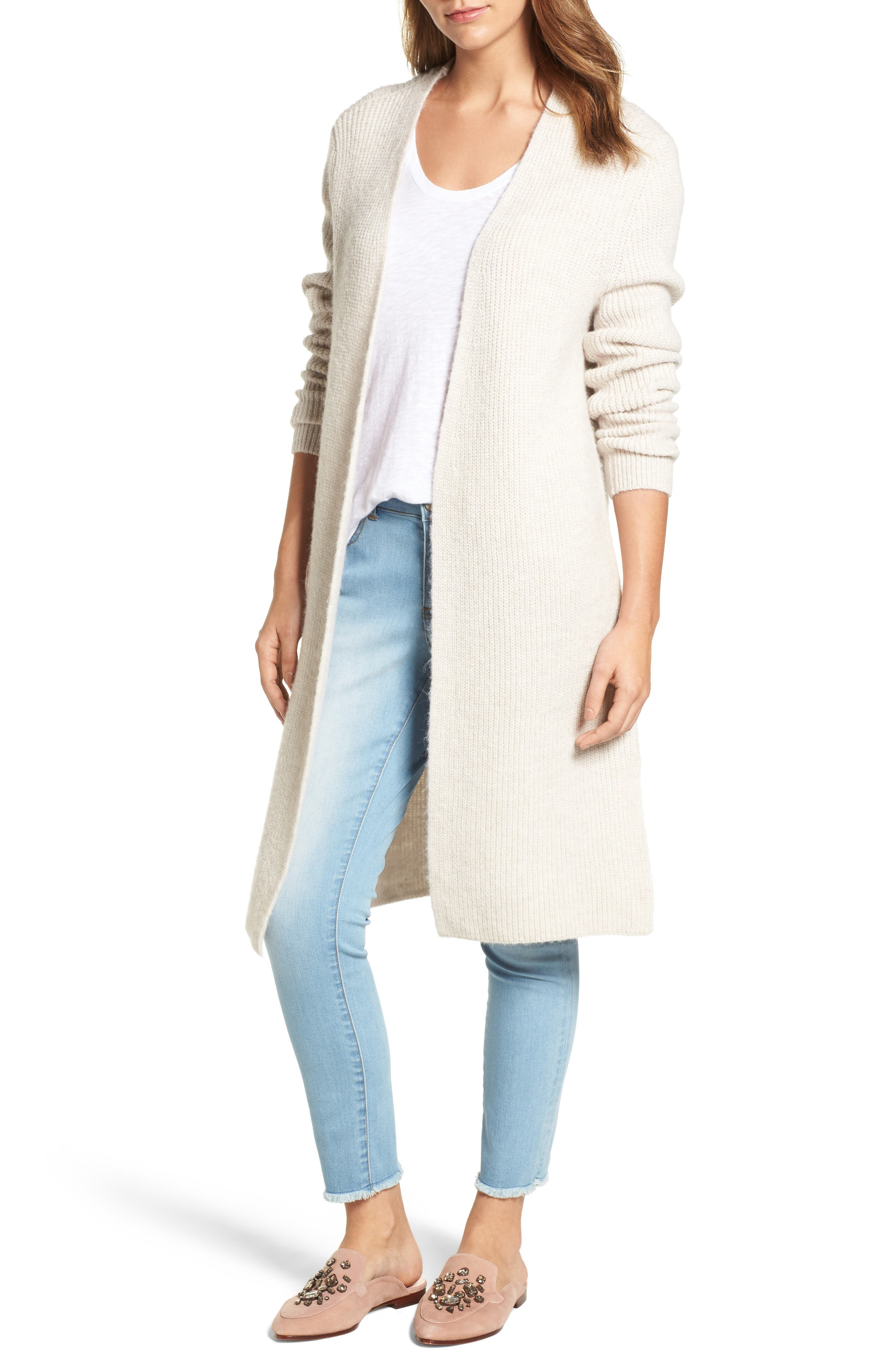 Main Image - Halogen® Long Ribbed Cardigan (Regular & Petite)