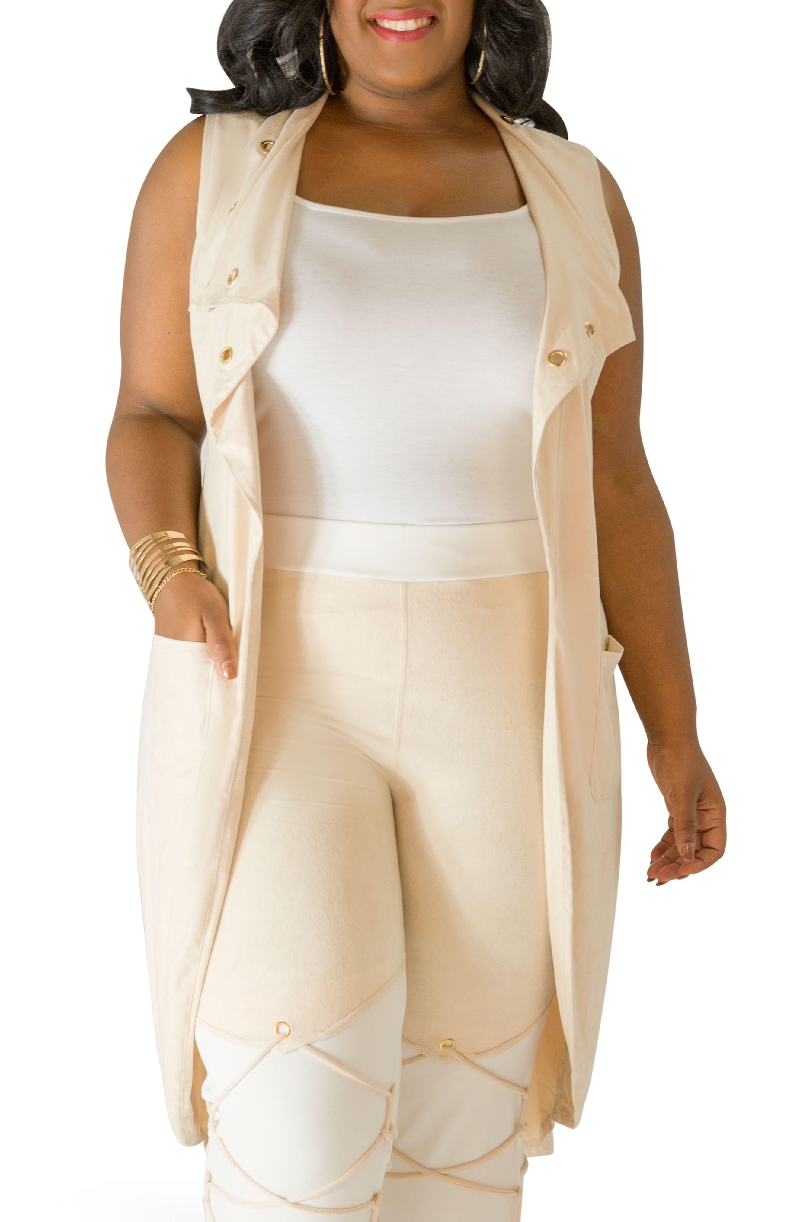 Main Image - Poetic Justice Kelis Long Faux Suede Vest (Plus Size)