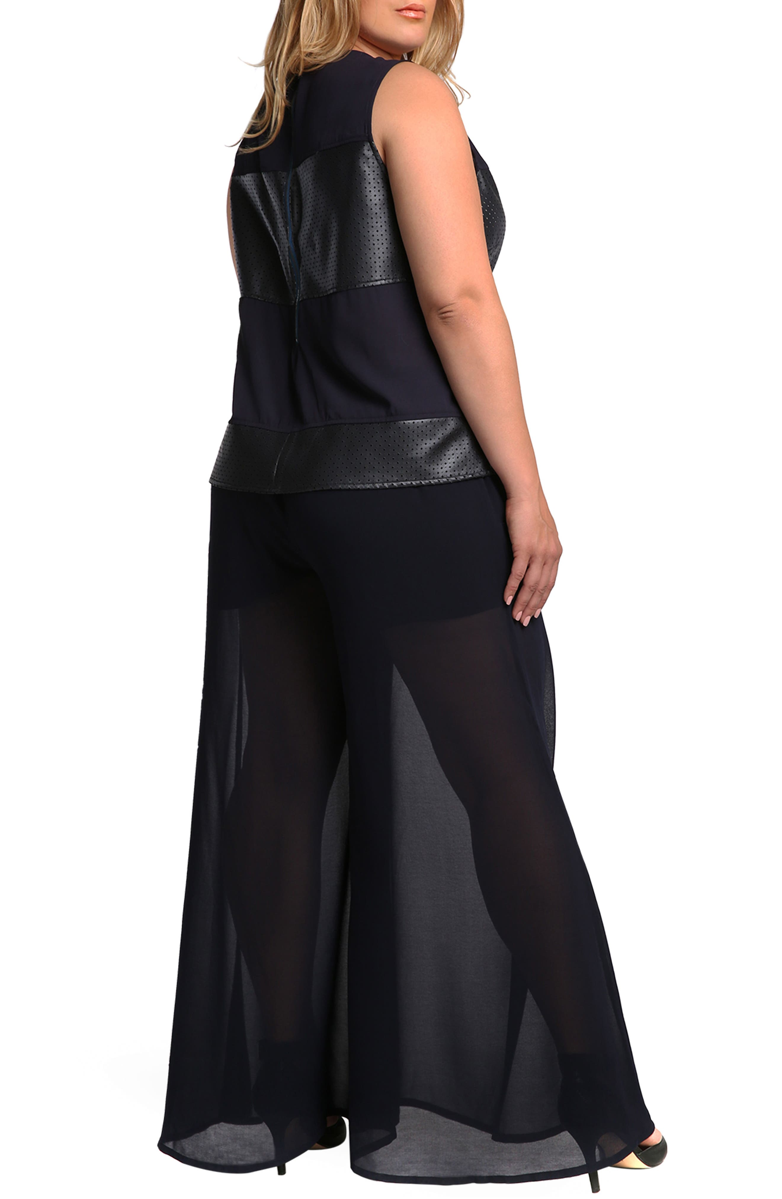 Patricia Palazzo Pants,                             Alternate thumbnail 3, color,                             Midnight Blue