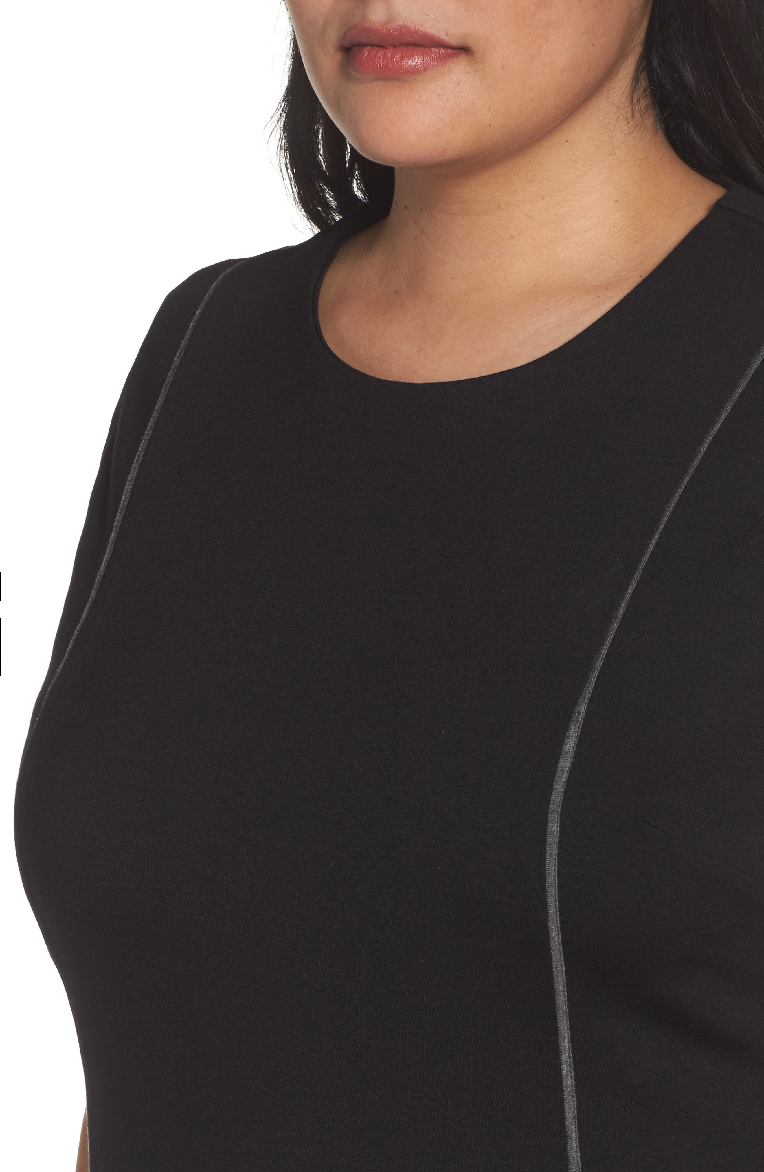 Alternate Image 4  - Sejour Contrast Seam Ponte Sheath Dress (Plus Size)