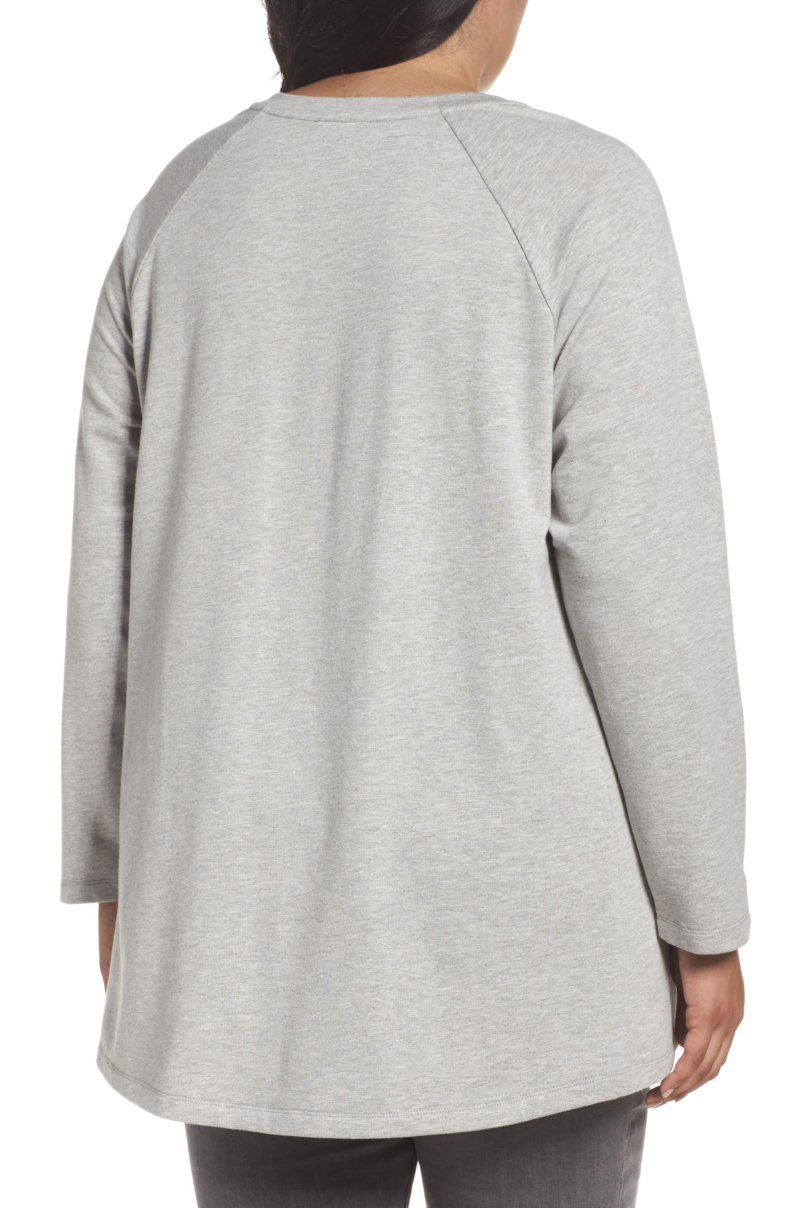 Alternate Image 2  - Caslon® High/Low Sweatshirt (Plus Size)
