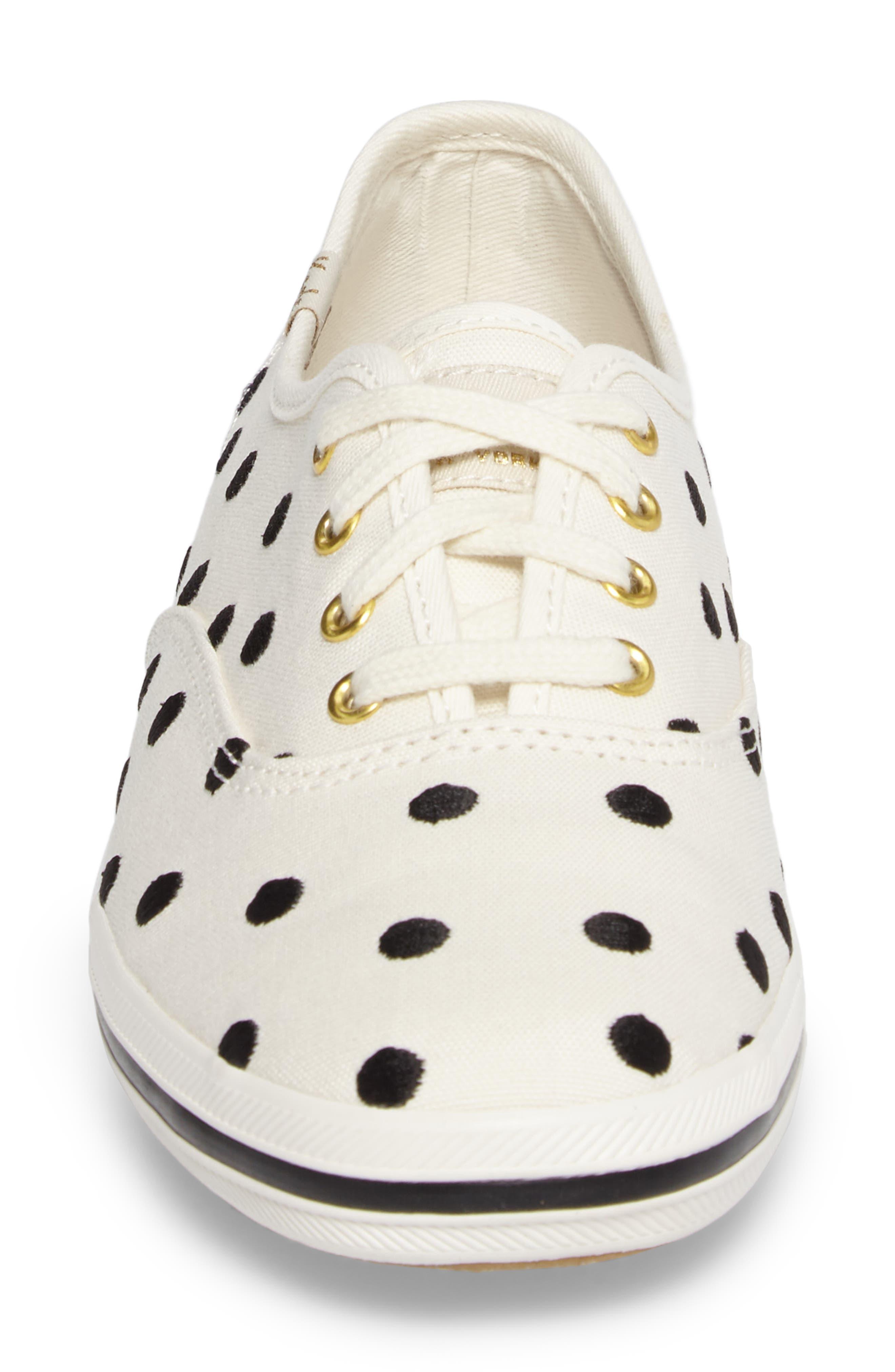 Keds<sup>®</sup> x kate spade new york champion sneaker,                             Alternate thumbnail 4, color,                             Pristine/ Black