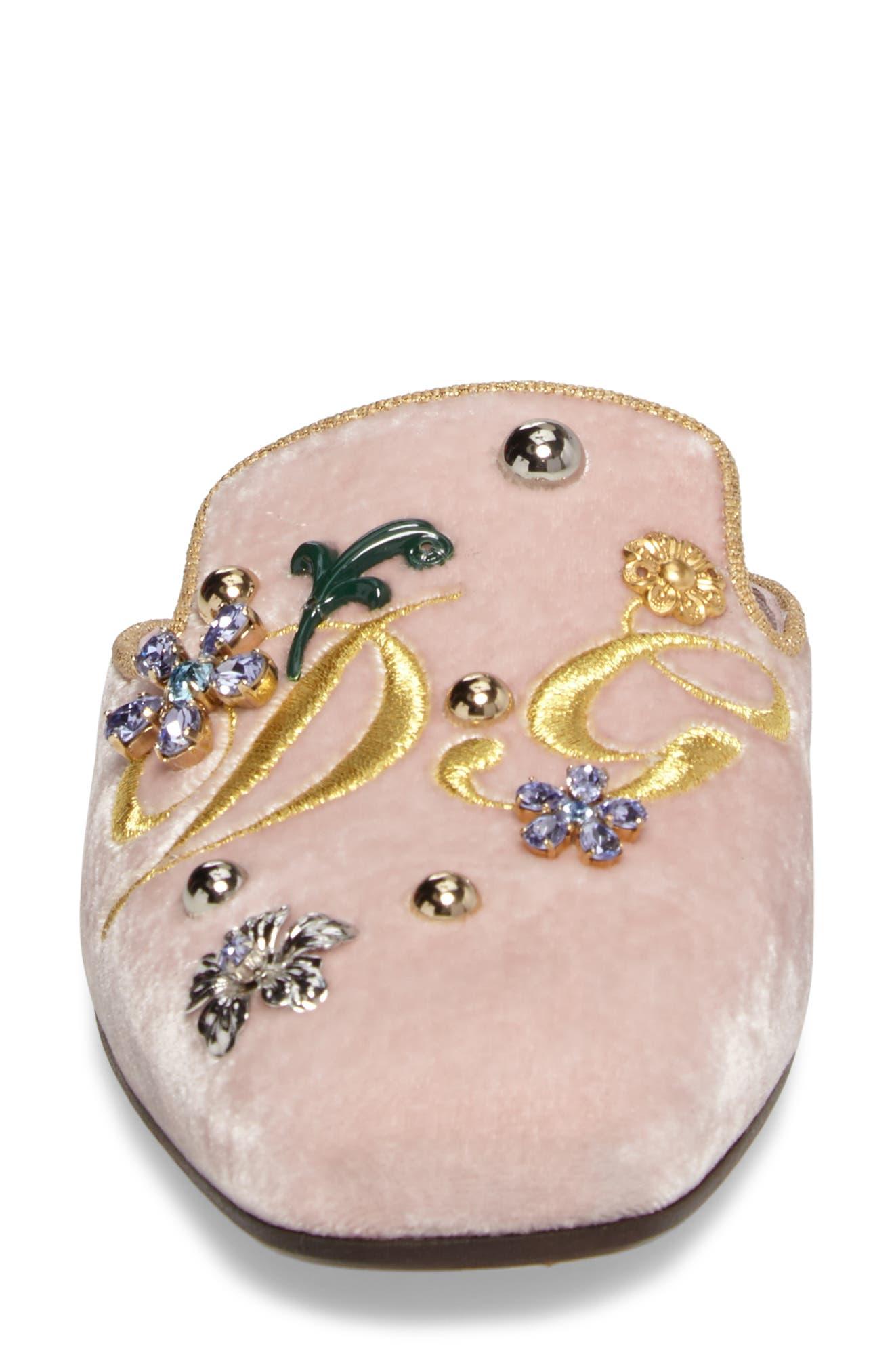 Embellished Velvet Mule,                             Alternate thumbnail 4, color,                             Pink/ Gold