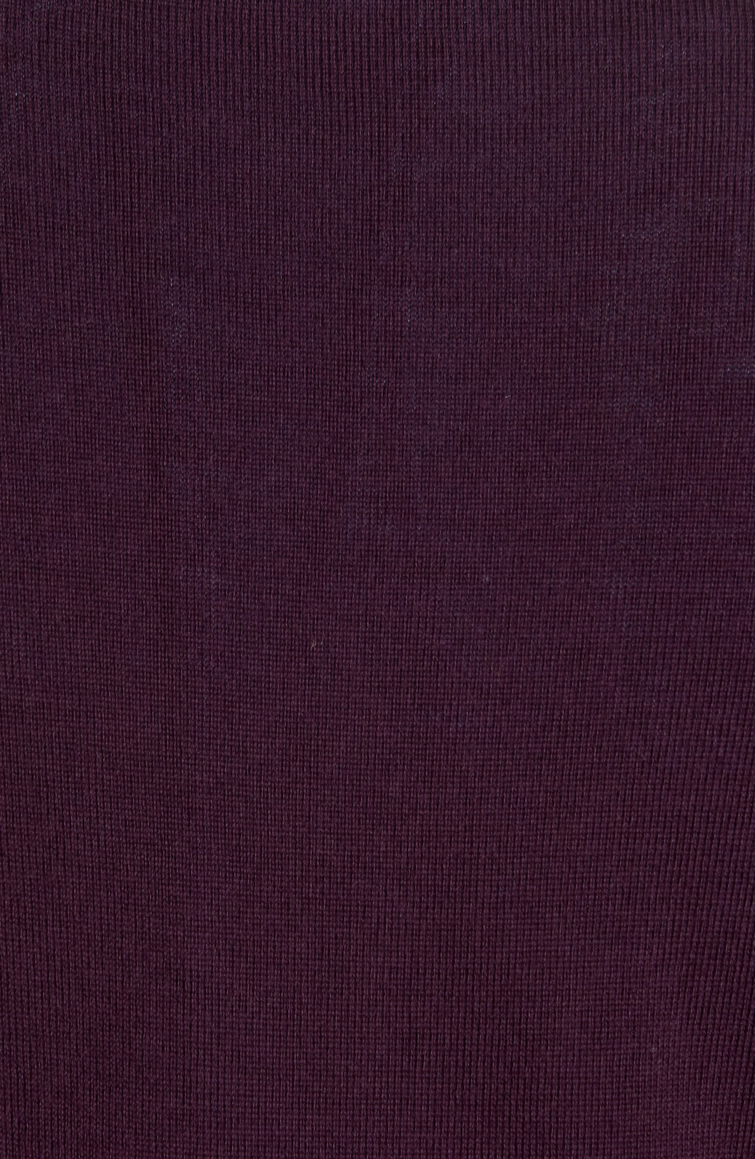 Quarter Zip Wool Pullover,                             Alternate thumbnail 5, color,                             Purple Plum