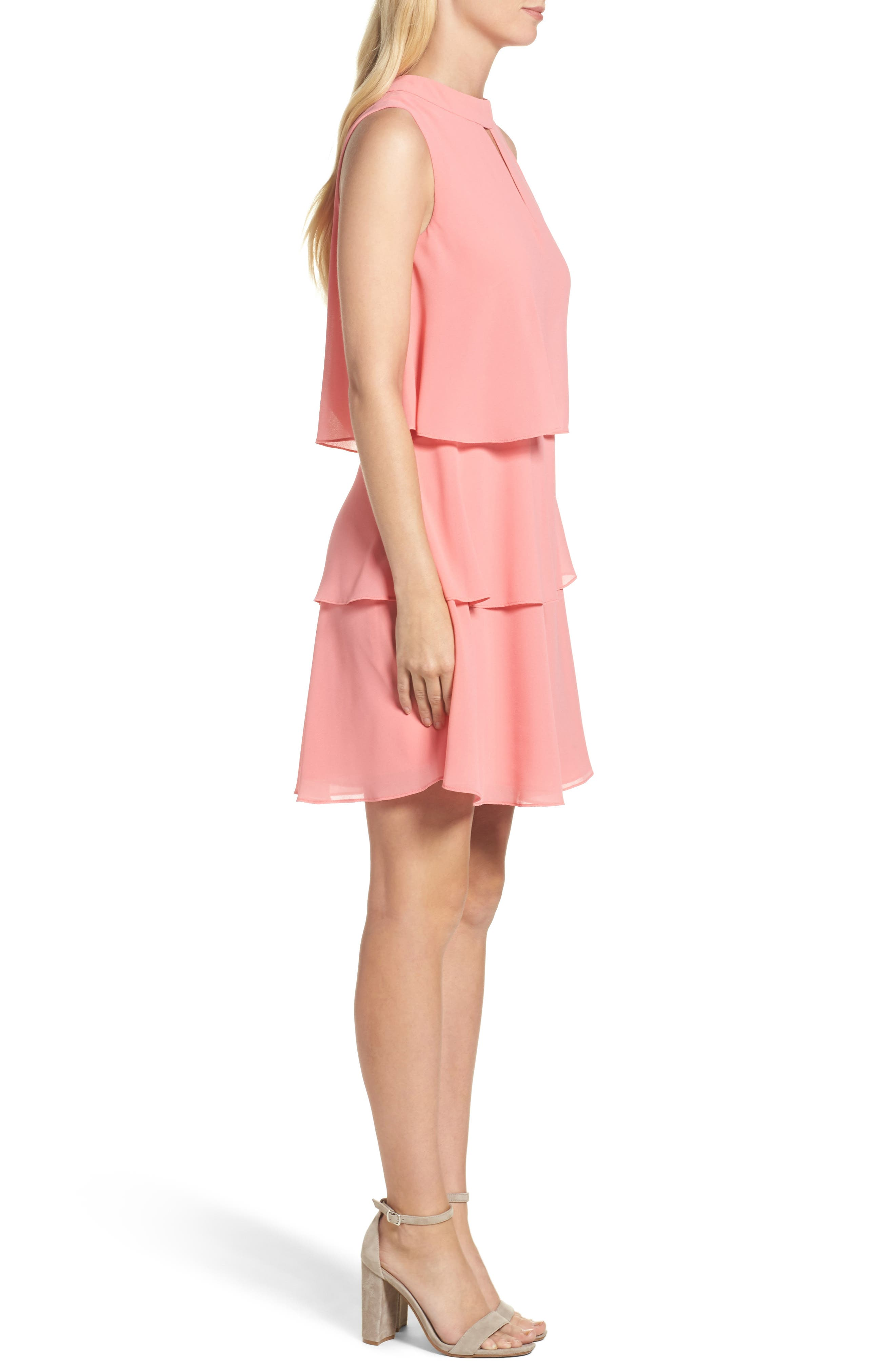 Tiered Chiffon Dress,                             Alternate thumbnail 3, color,                             Guava