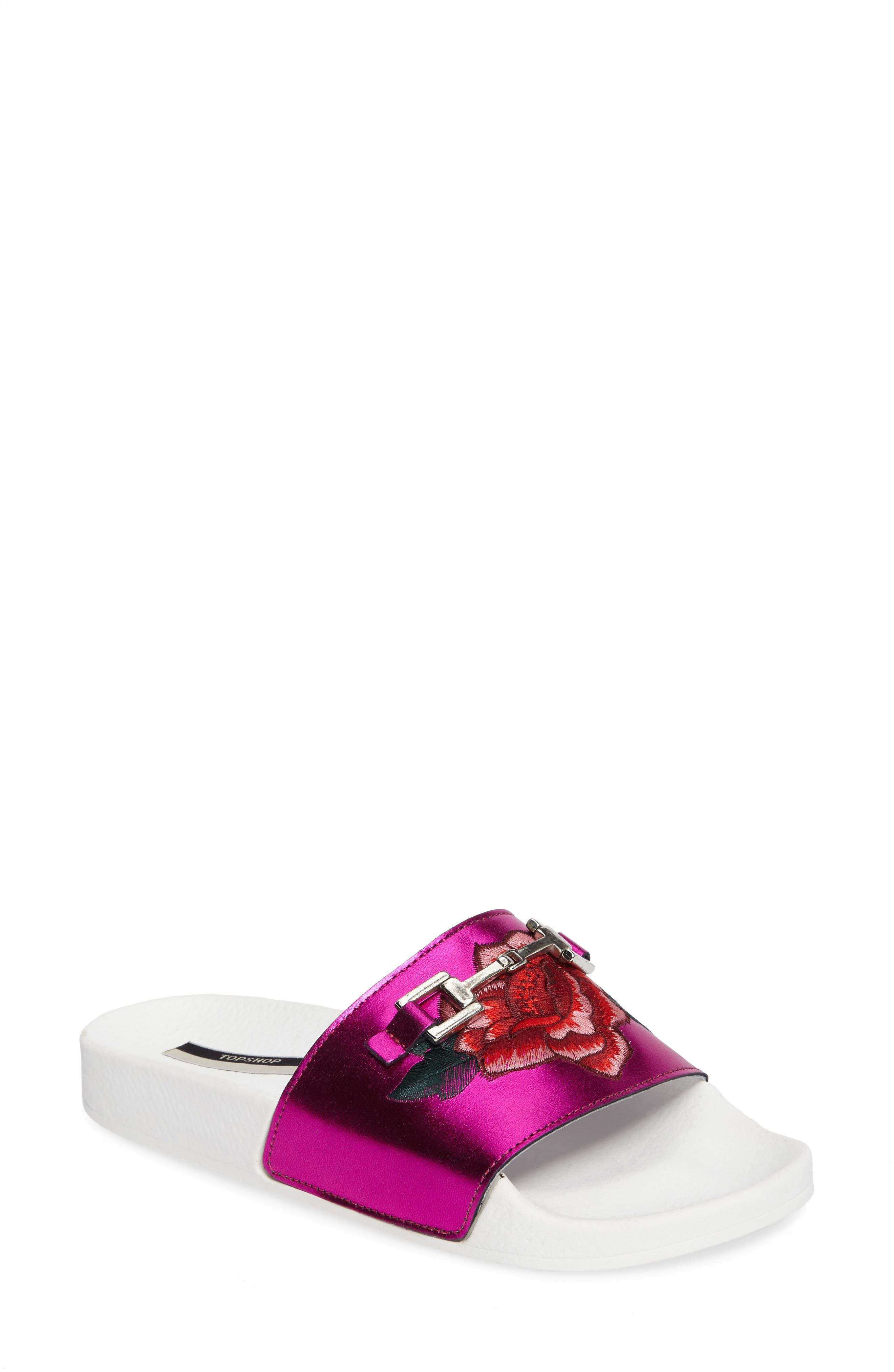 Topshop Fierce Embroidered Slide Sandal (Women)