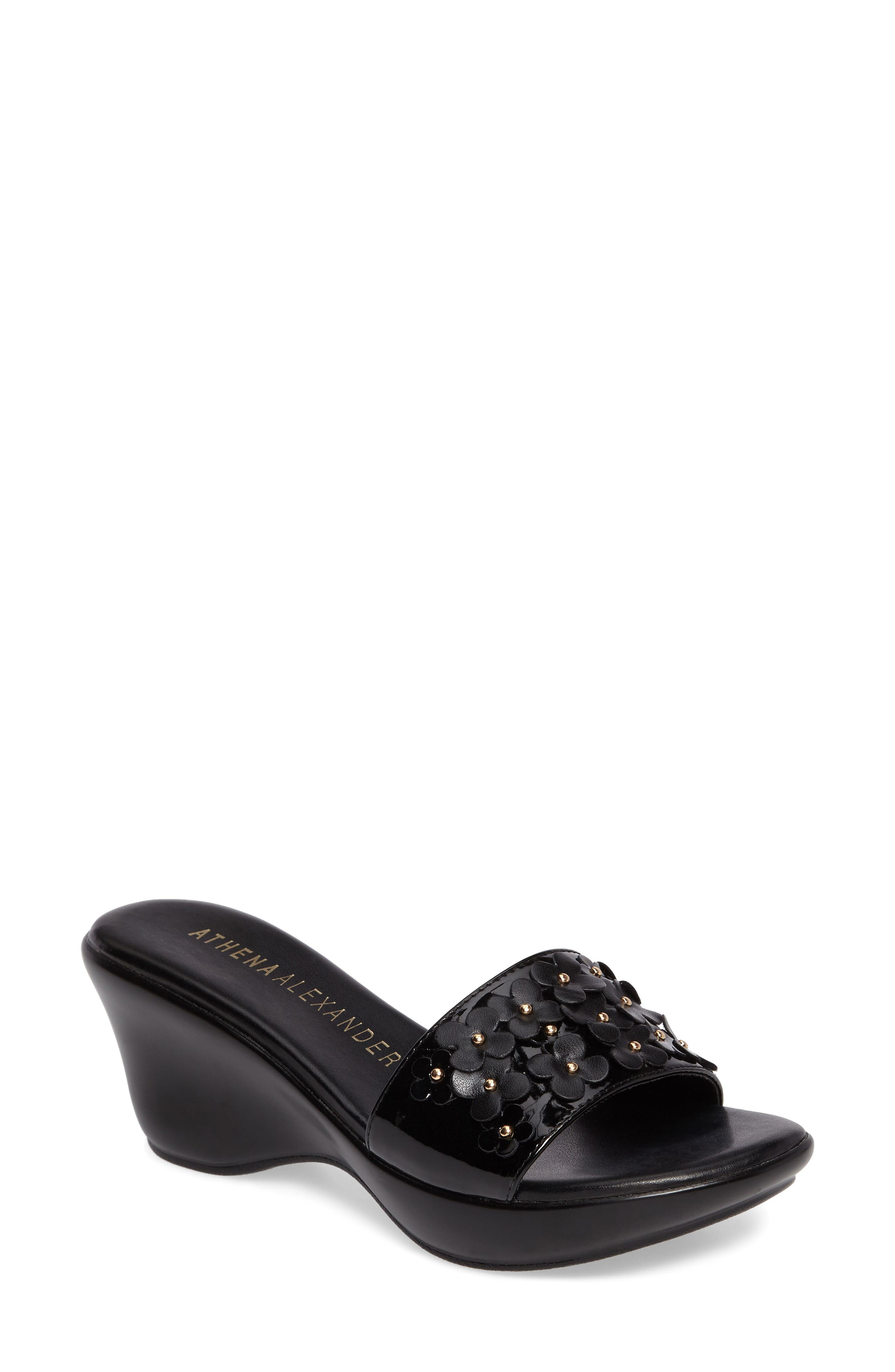 Allegra Wedge Slide,                             Main thumbnail 1, color,                             Black Faux Leather