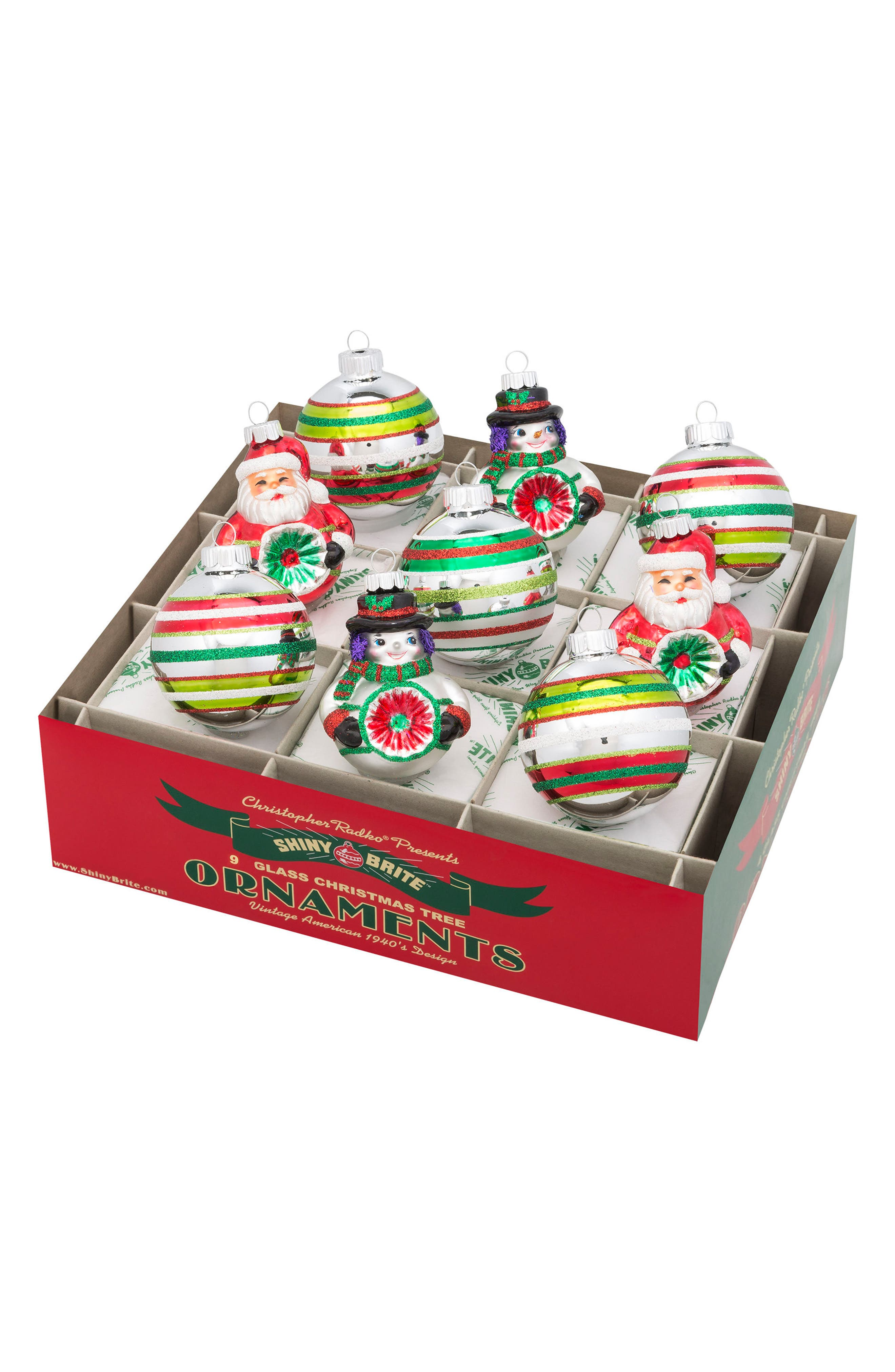 Christopher Radko Holiday Splendor Set of 9 Glass Ornaments