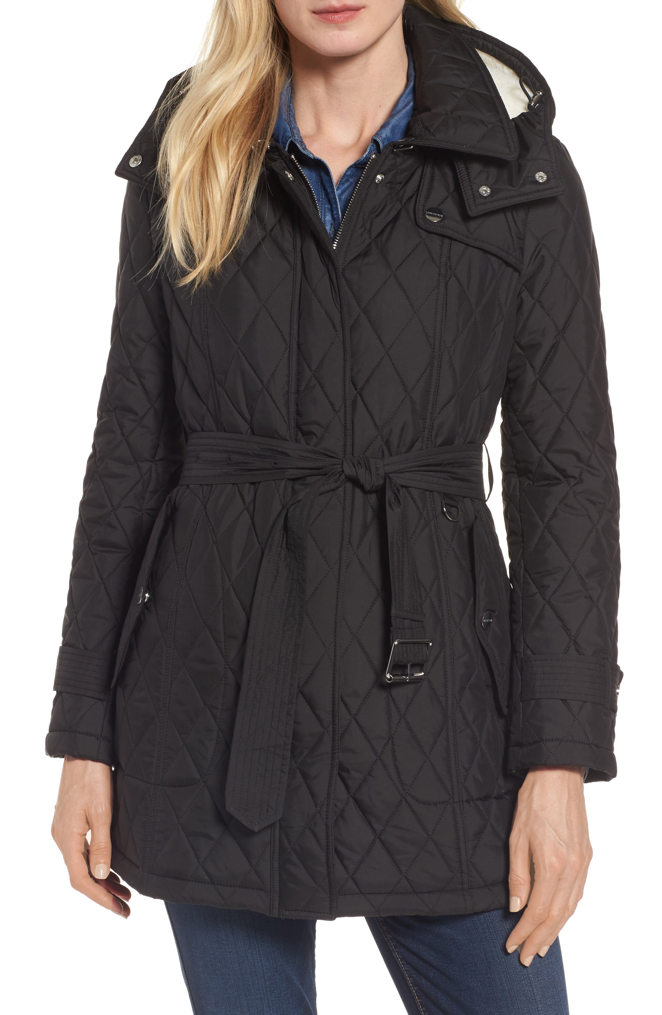 Quilted Coat with Faux Shearling Lining,                             Main thumbnail 1, color,                             Black