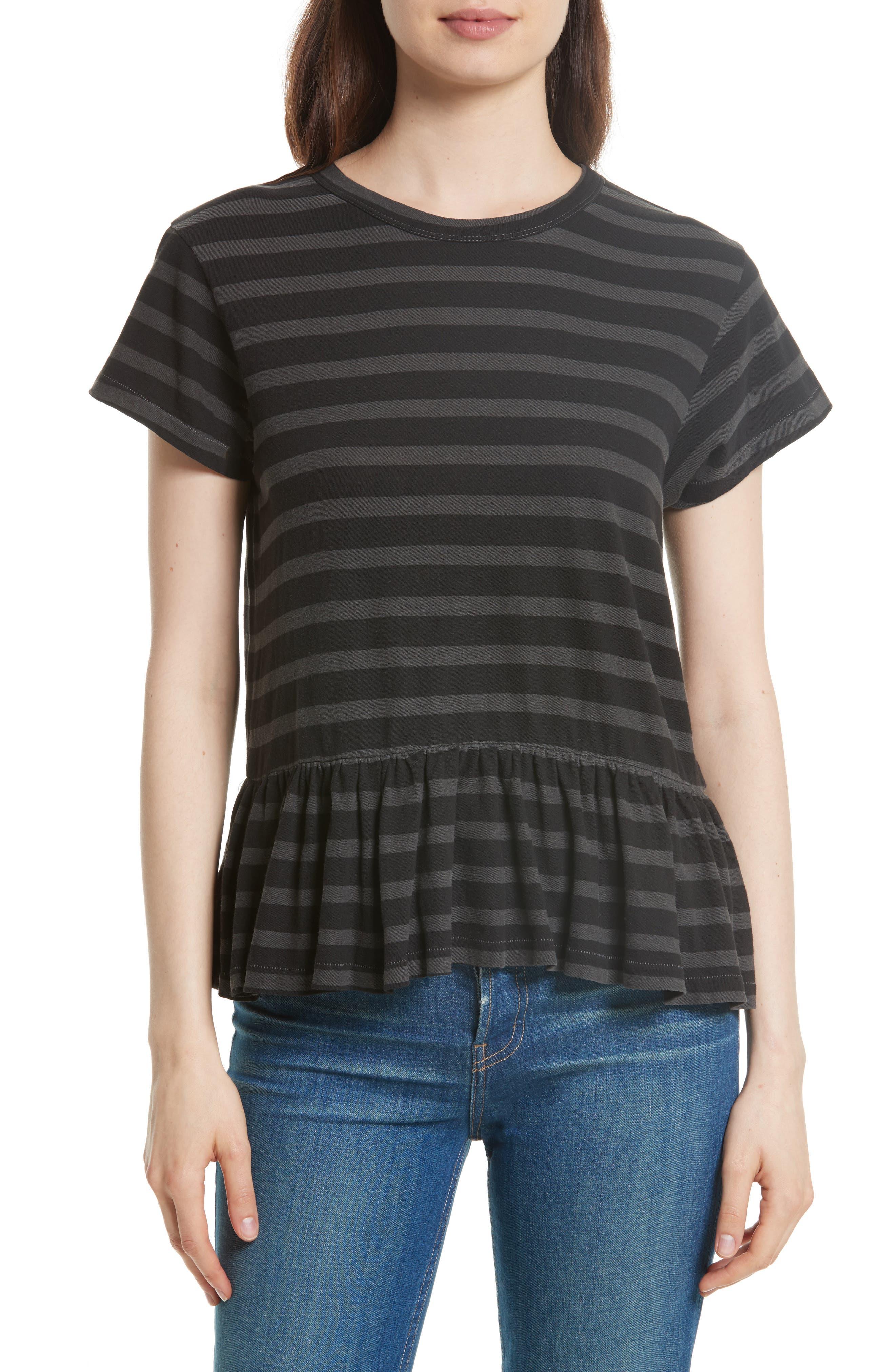 The Ruffle Stripe Tee,                         Main,                         color, Charcoal Over Dye Stripe