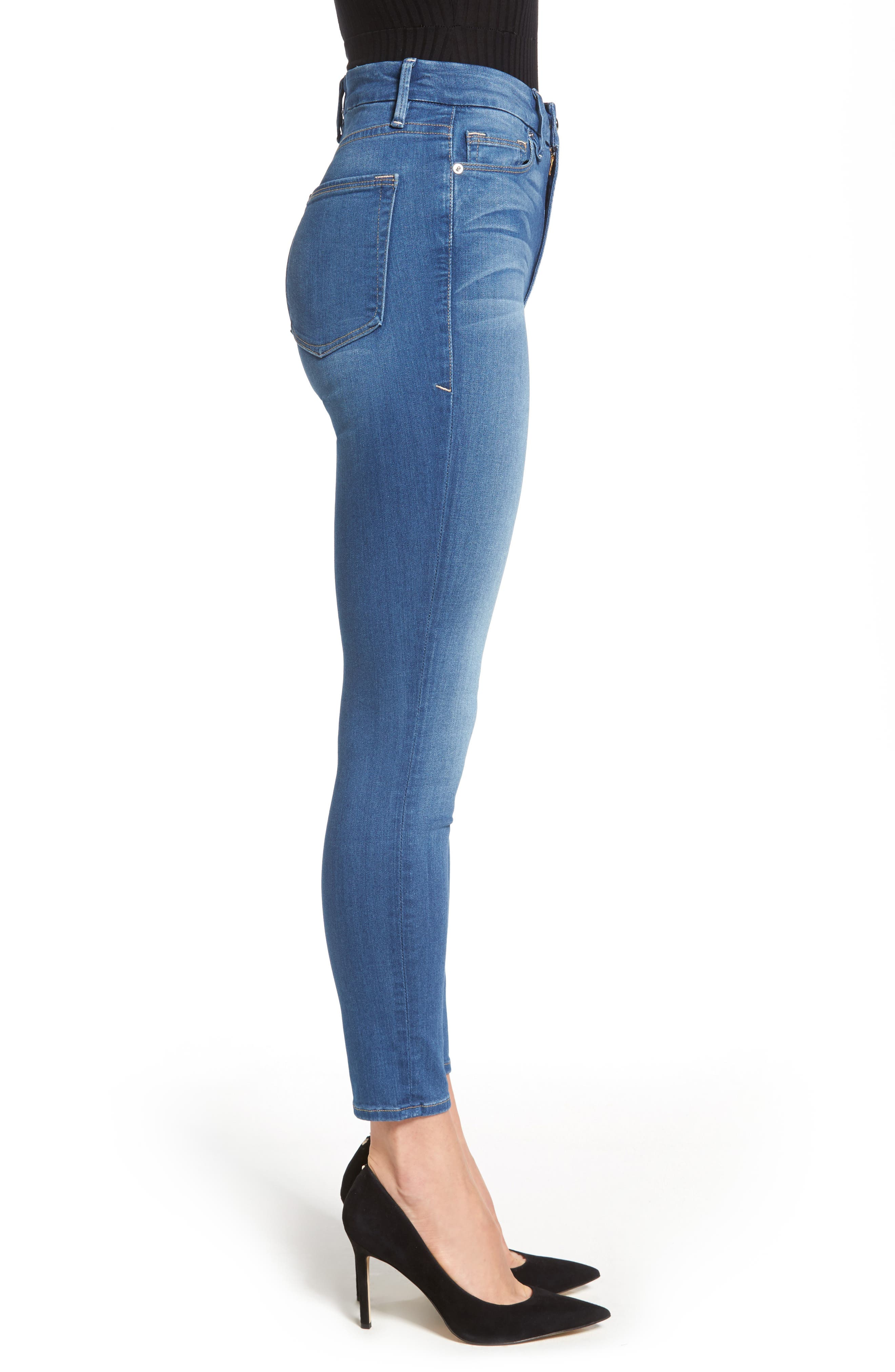Alternate Image 3  - Good American Good Waist High Waist Crop Skinny Jeans (Blue 056) (Extended Sizes)