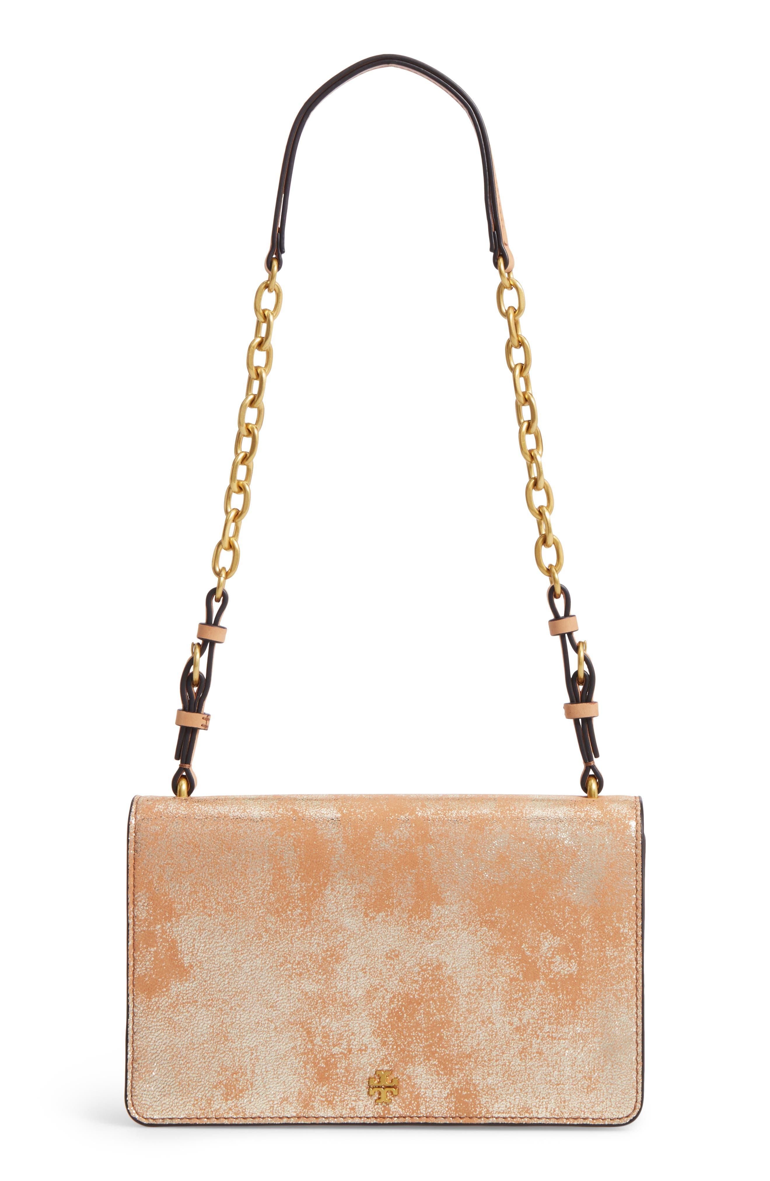 TORY BURCH Sadie Metallic Leather Shoulder Bag