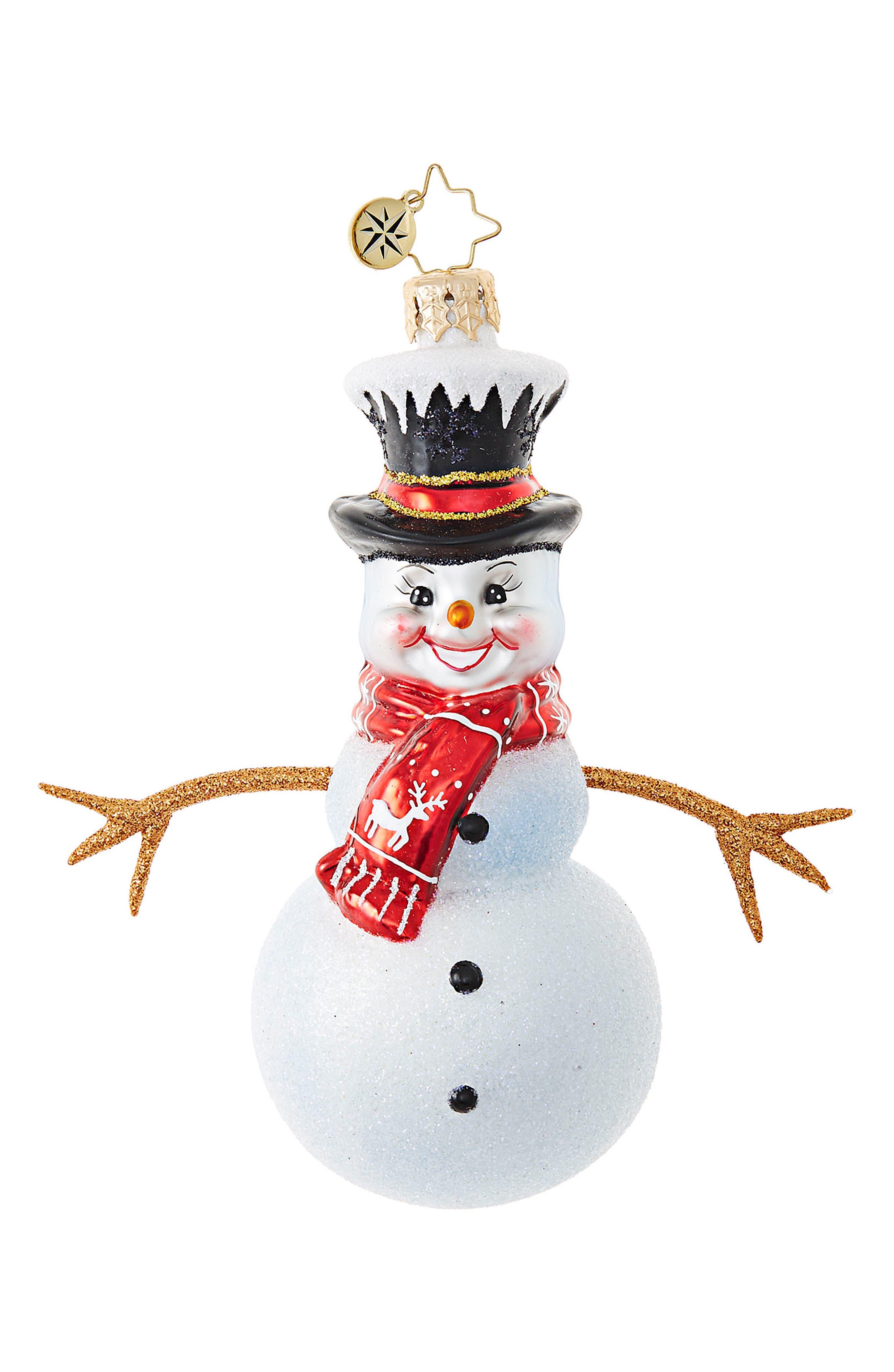 Twiggy Snowman Ornament,                         Main,                         color, White/ Multi