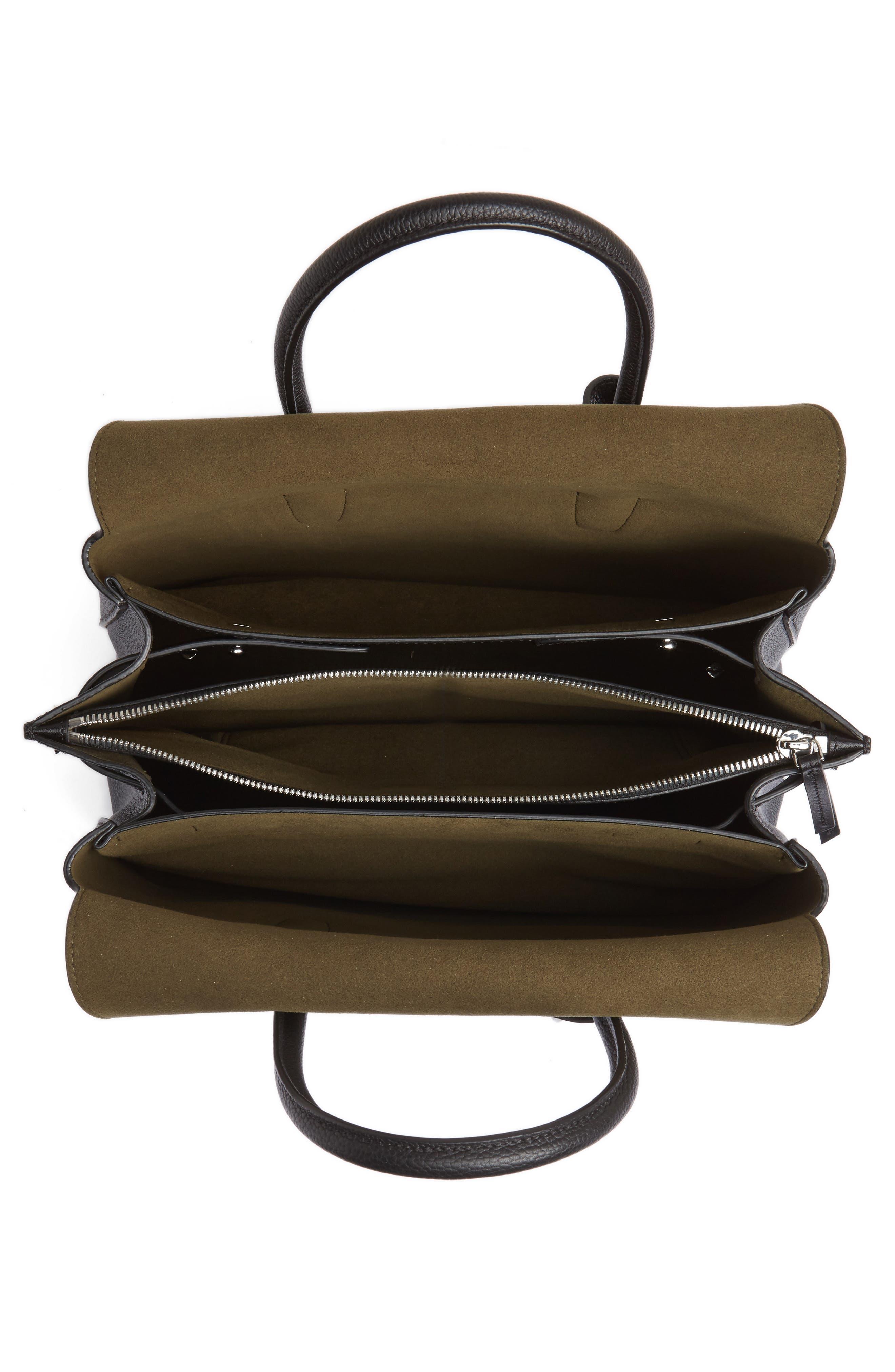 Medium Milla Studded Leather Tote,                             Alternate thumbnail 3, color,                             Black