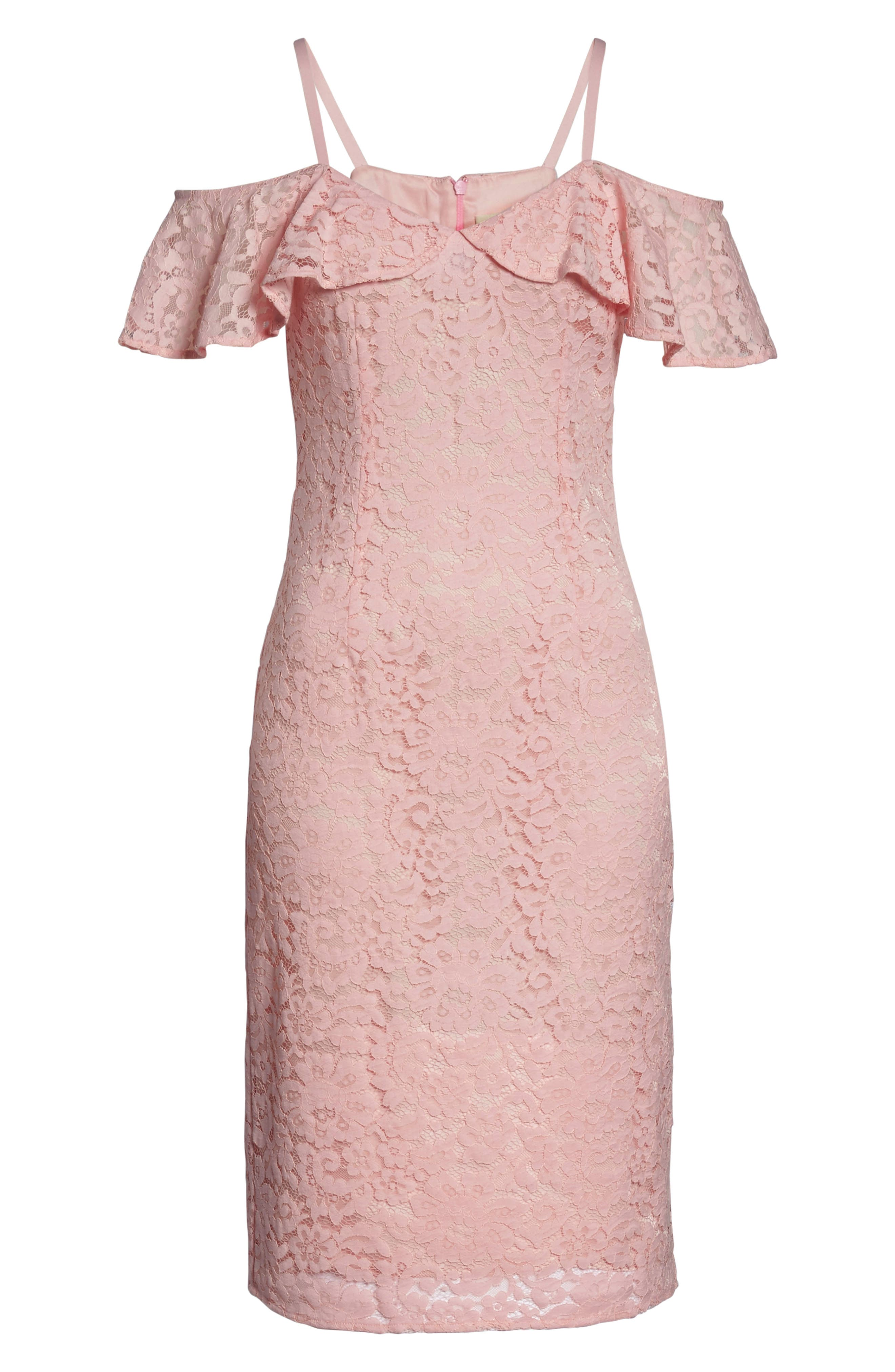 Mysterious Off the Shoulder Dress,                             Alternate thumbnail 6, color,                             Pink Champagne