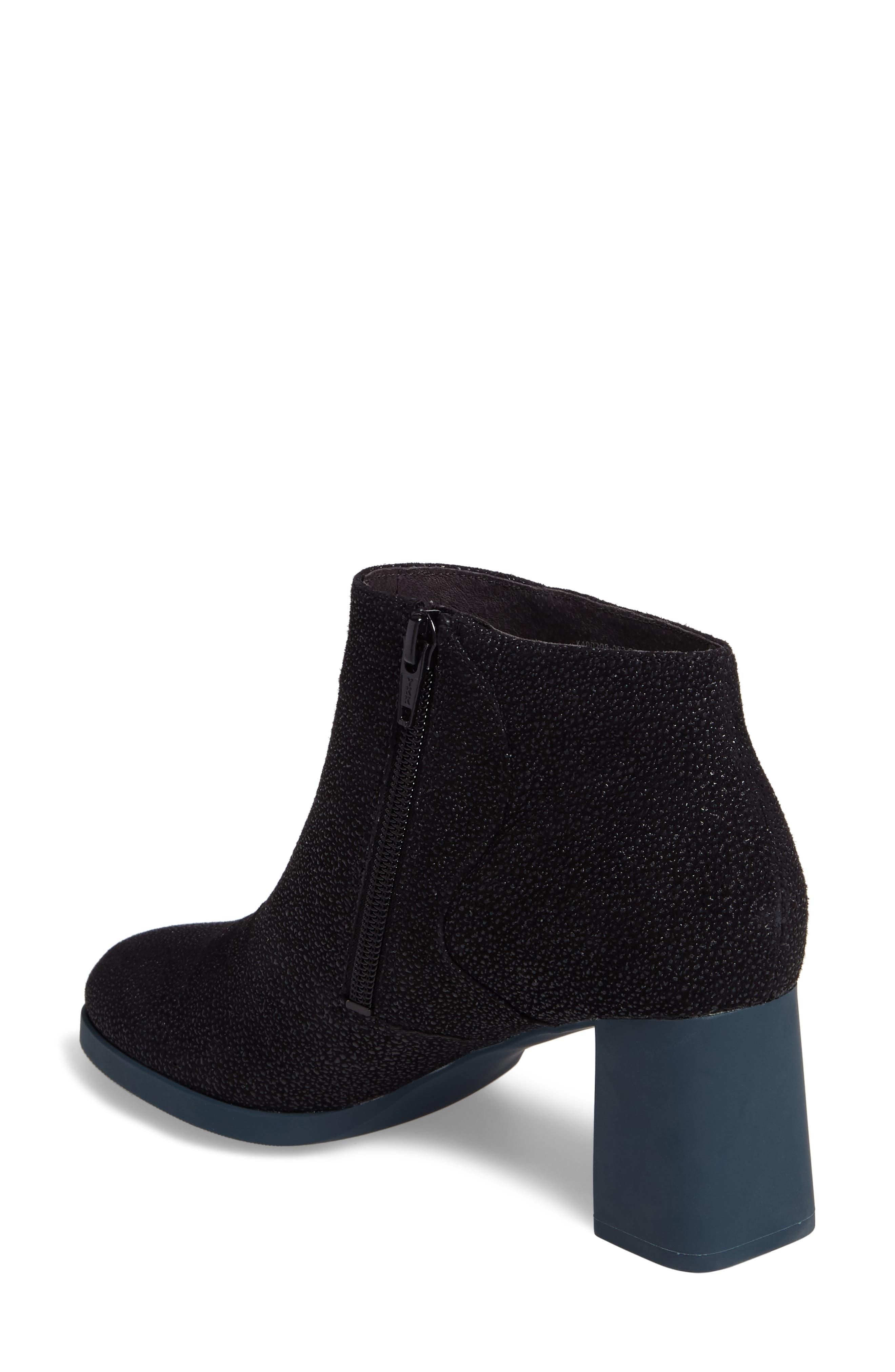 Kara Flared Heel Bootie,                             Alternate thumbnail 2, color,                             Black Sparkle Leather