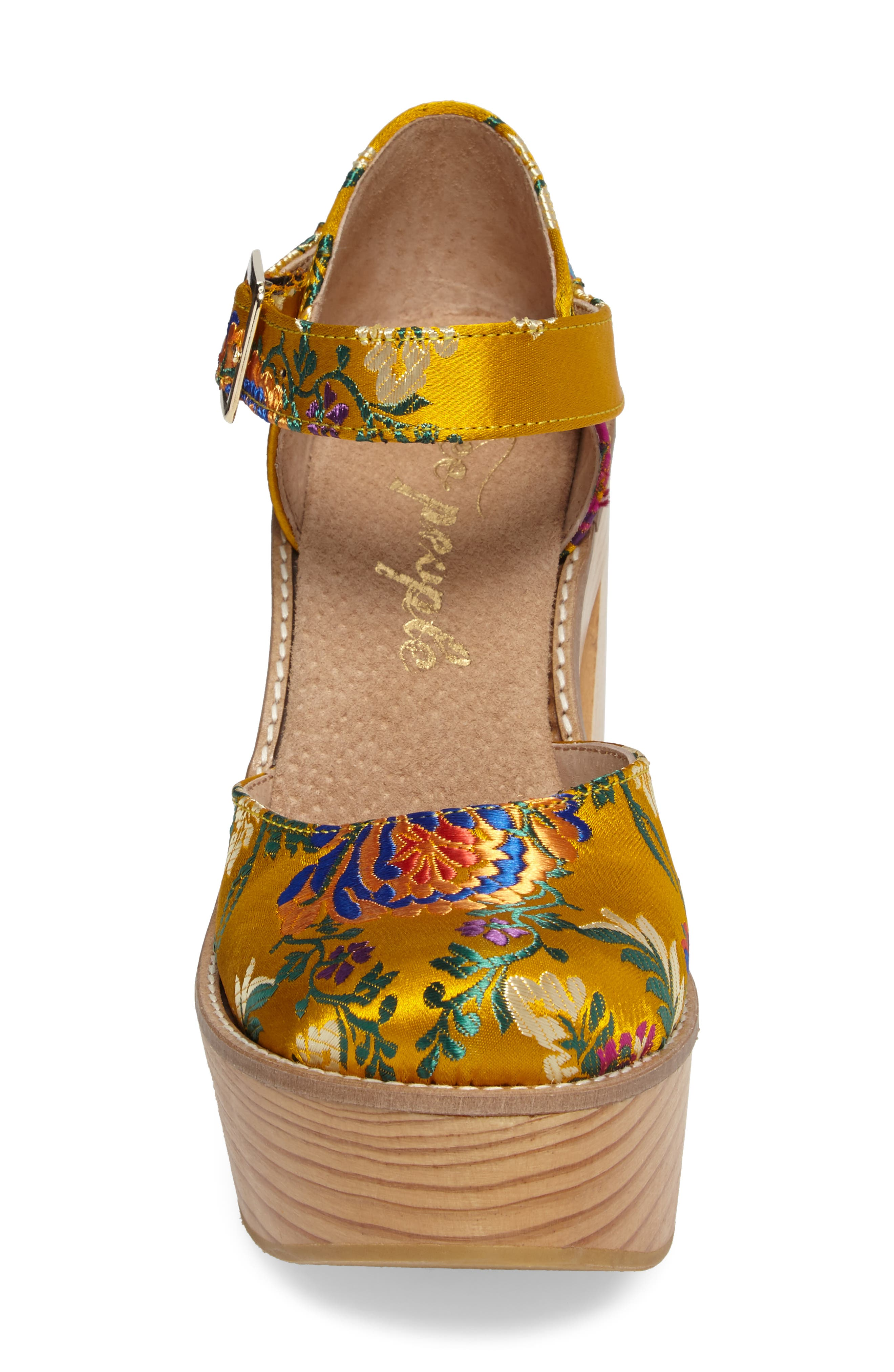 Starlet Embroidered Platform Pump,                             Alternate thumbnail 4, color,                             Yellow