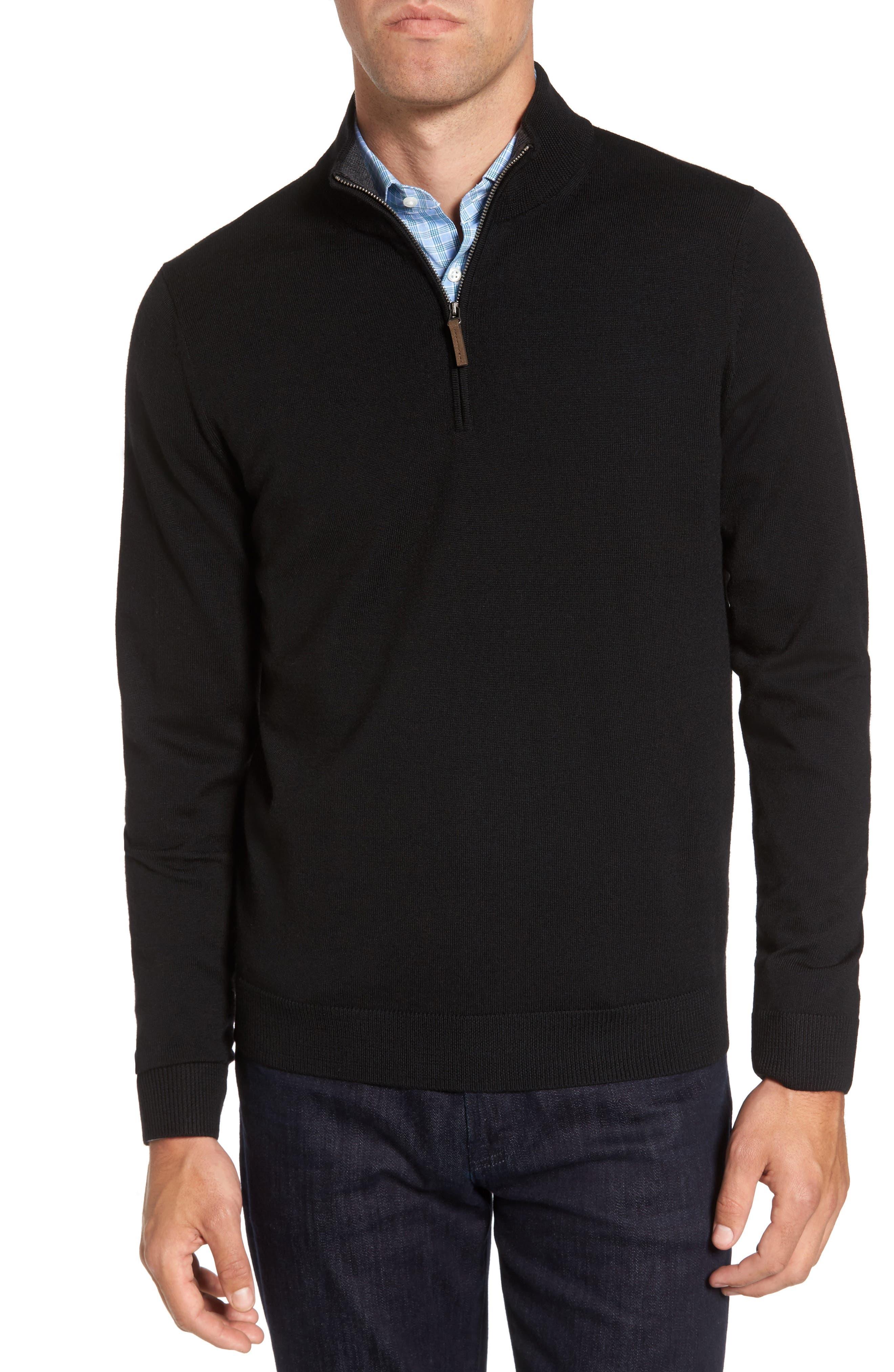 Quarter Zip Wool Pullover,                             Main thumbnail 1, color,                             Black Caviar