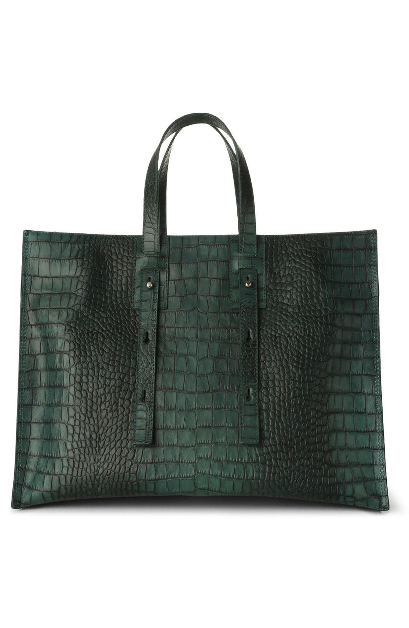 Alternate Image 2  - Orciani Petra Croc-Embossed Calfskin Leather Tote