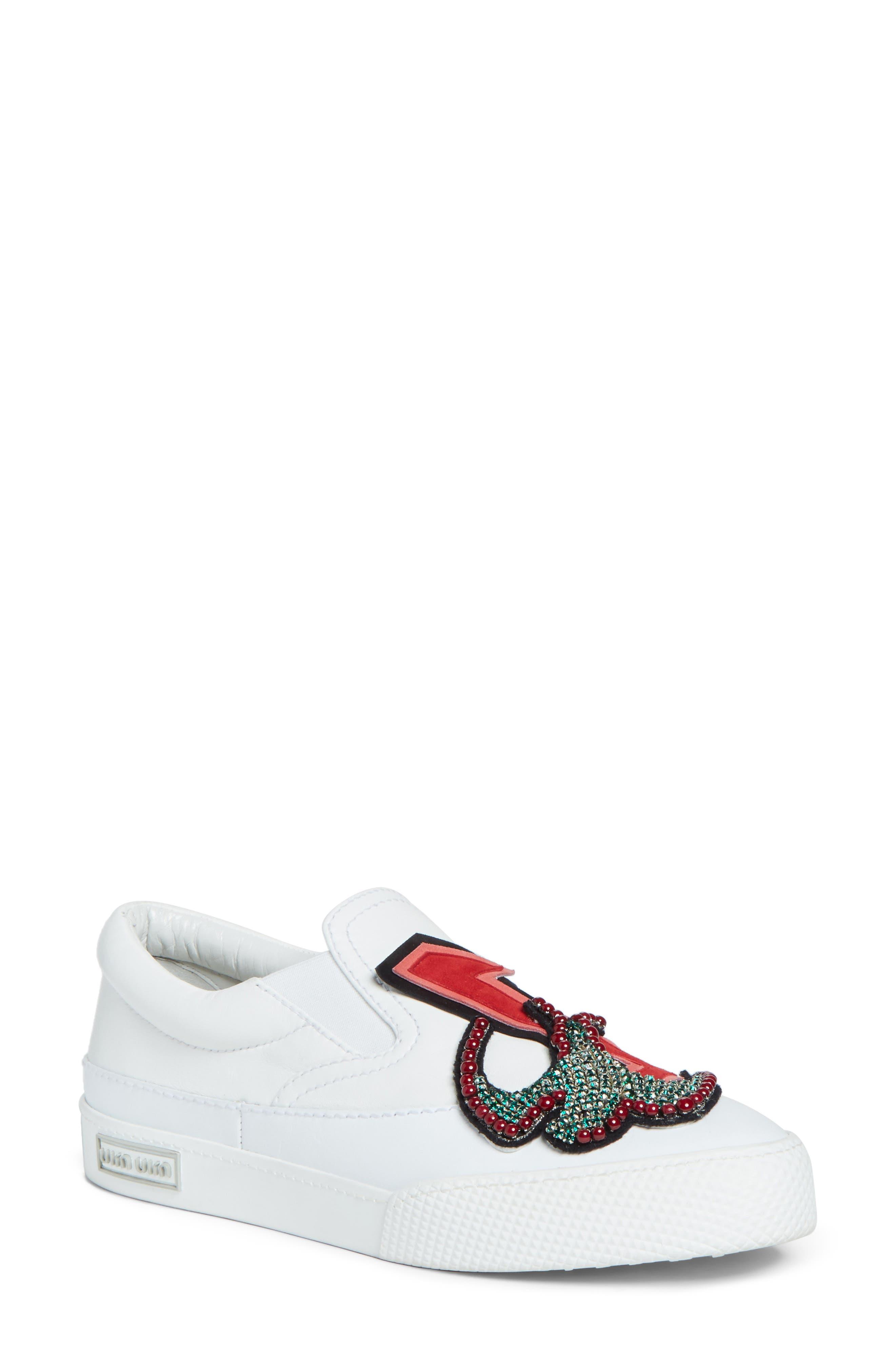 Miu Miu Embellished Slip-On Sneaker (Women)