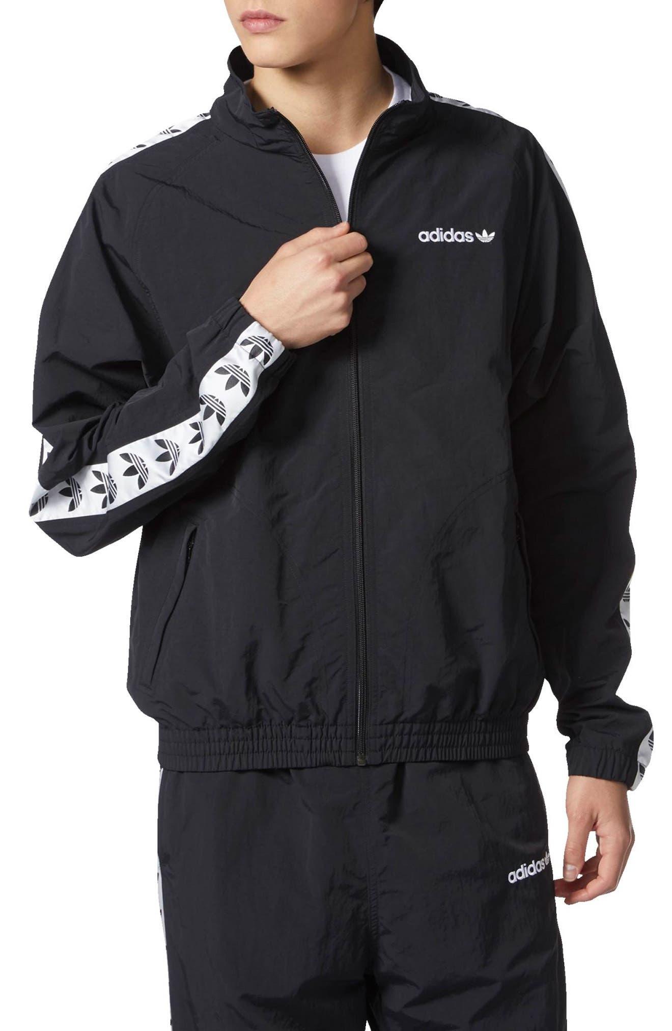 TNT Tape Wind Jacket,                         Main,                         color, Black/ White