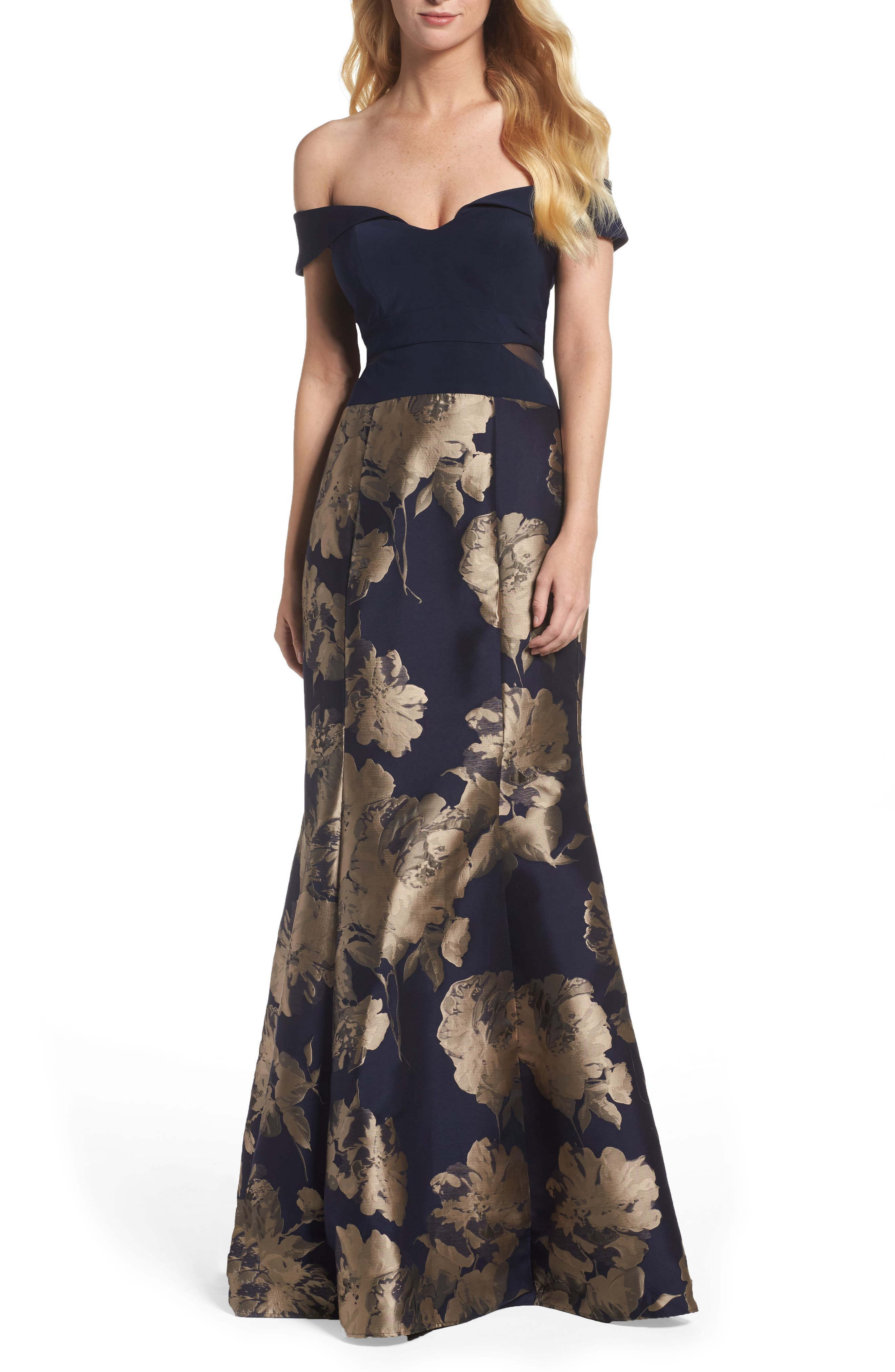 XSCAPE Brocade Skirt Off the Shoulder Gown