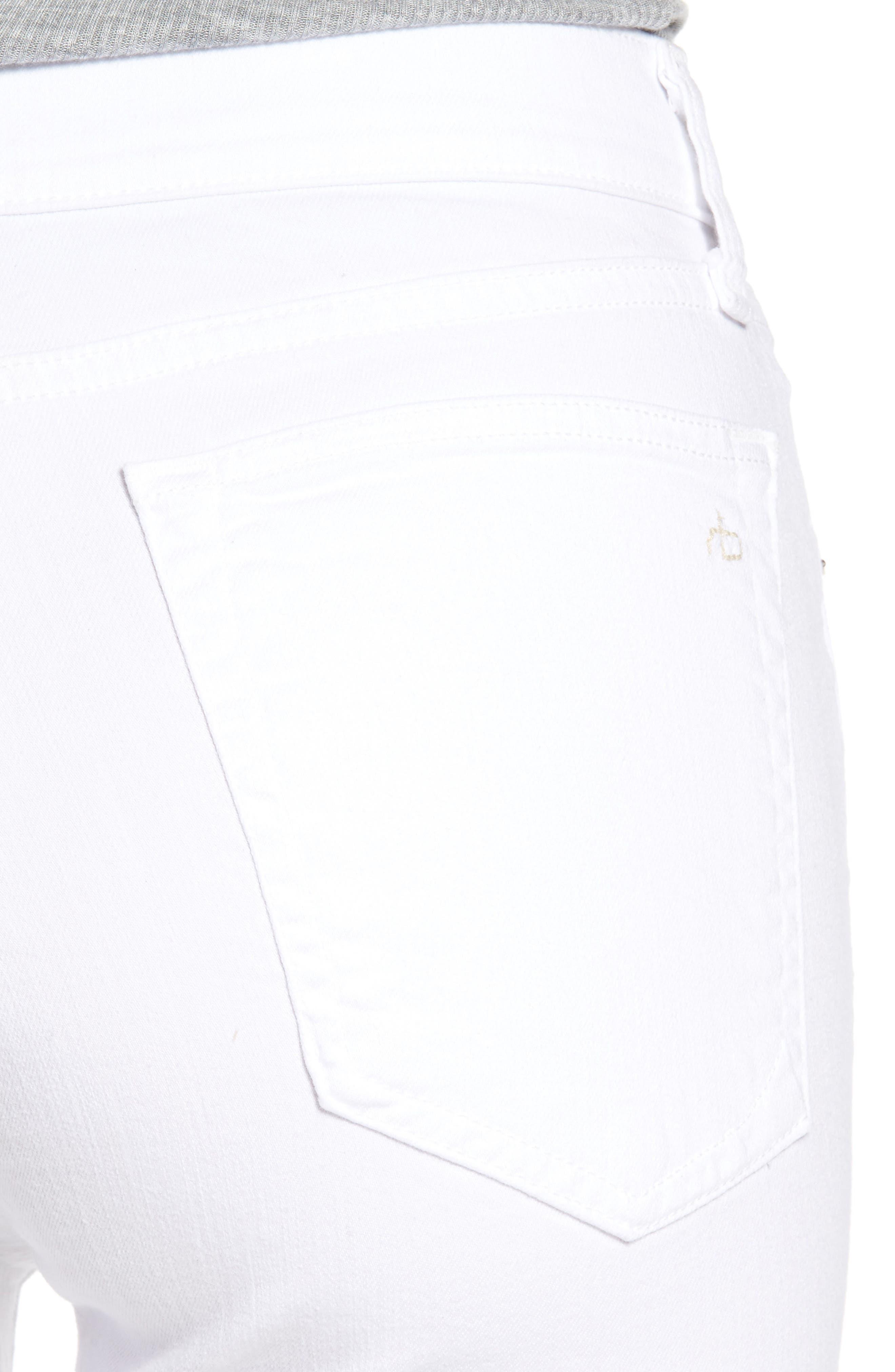 High Waist Step Hem Slim Boyfriend Jeans,                             Alternate thumbnail 4, color,                             Aged Bright White