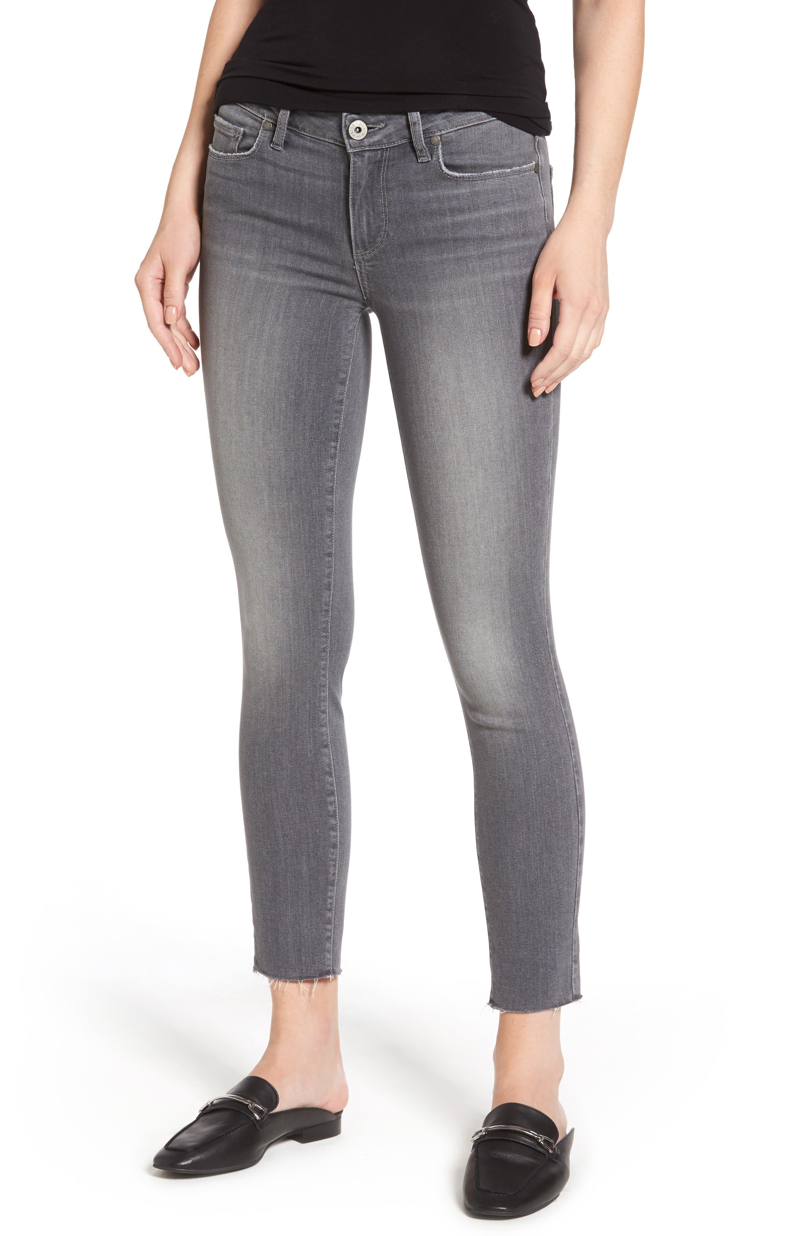 Alternate Image 1 Selected - PAIGE Verdugo Raw Hem Ankle Skinny Jeans (Sea Salt)