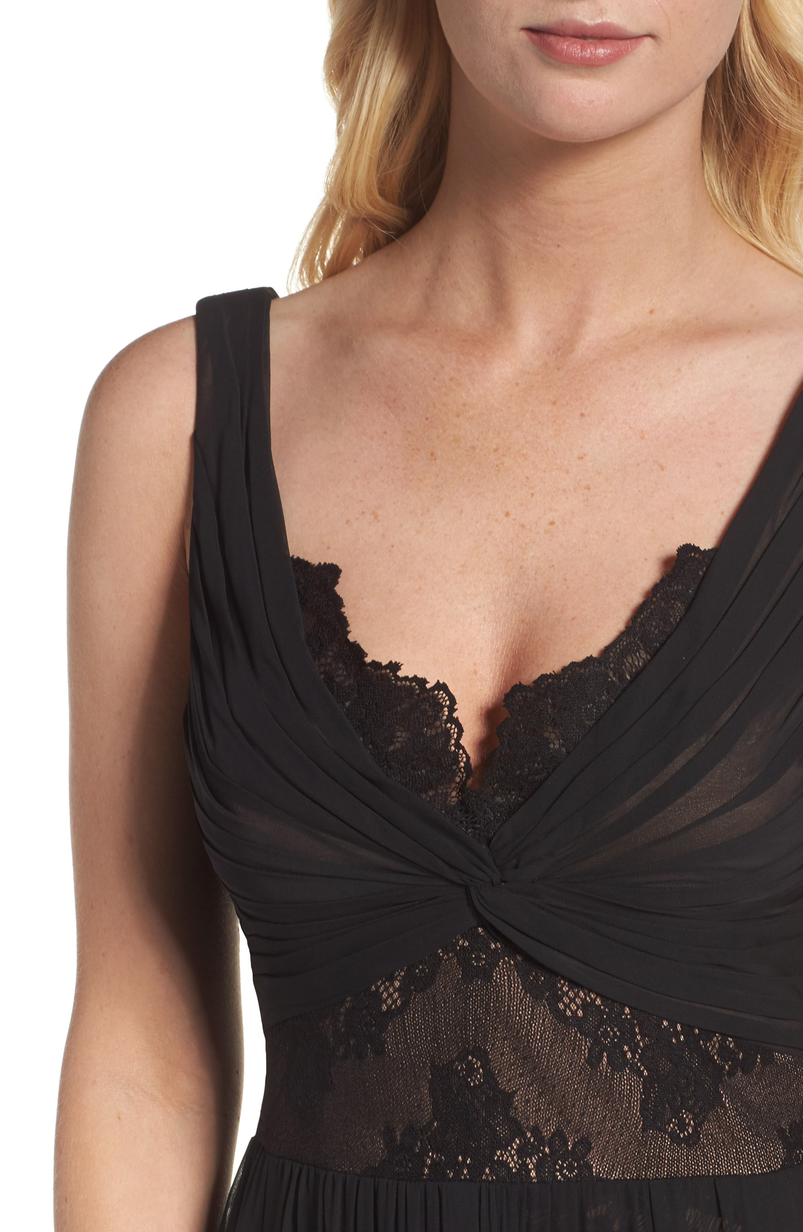 Lace Detail Gown,                             Alternate thumbnail 4, color,                             Black Nude
