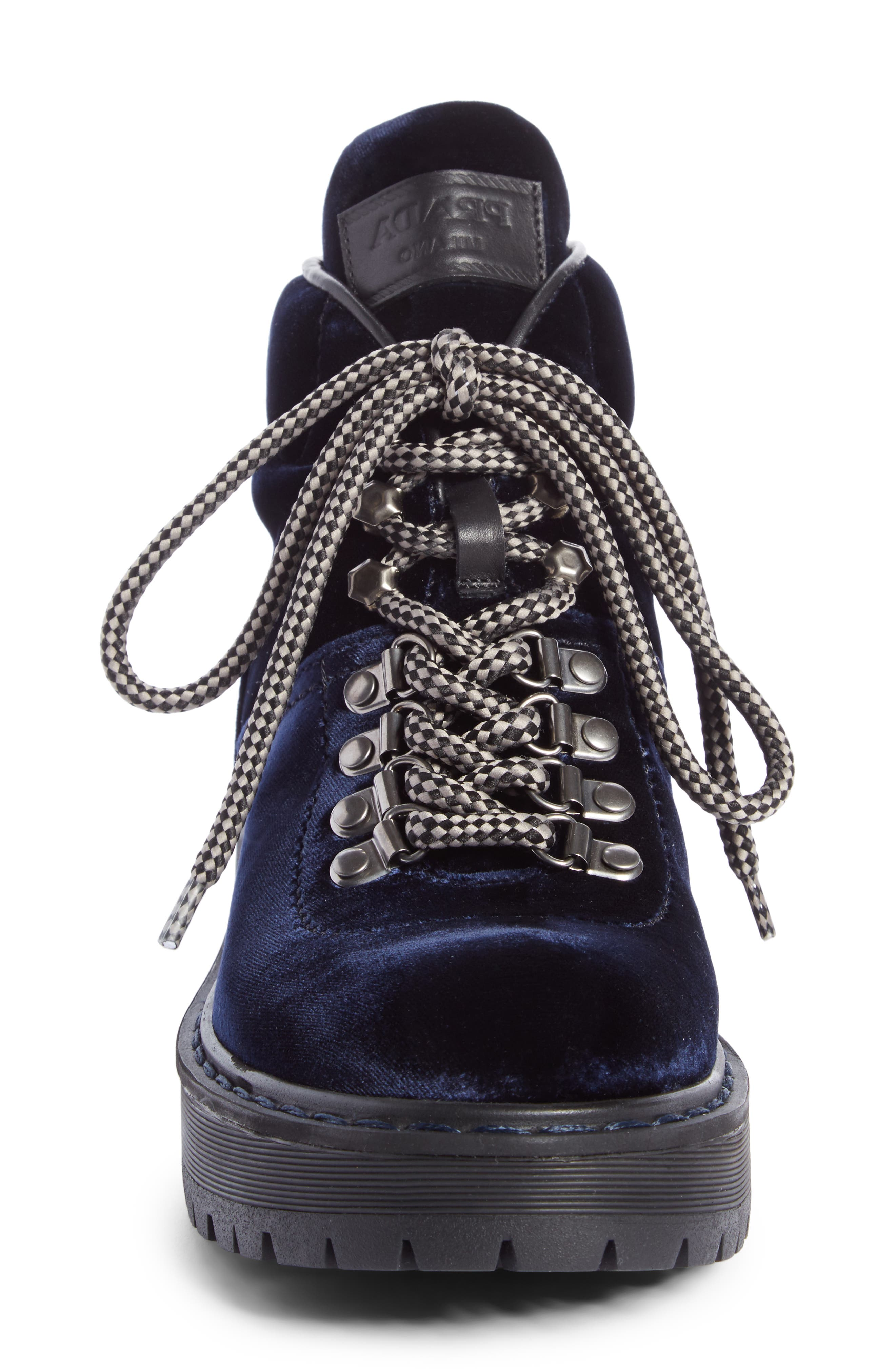 Lace-Up Bootie,                             Alternate thumbnail 3, color,                             Navy