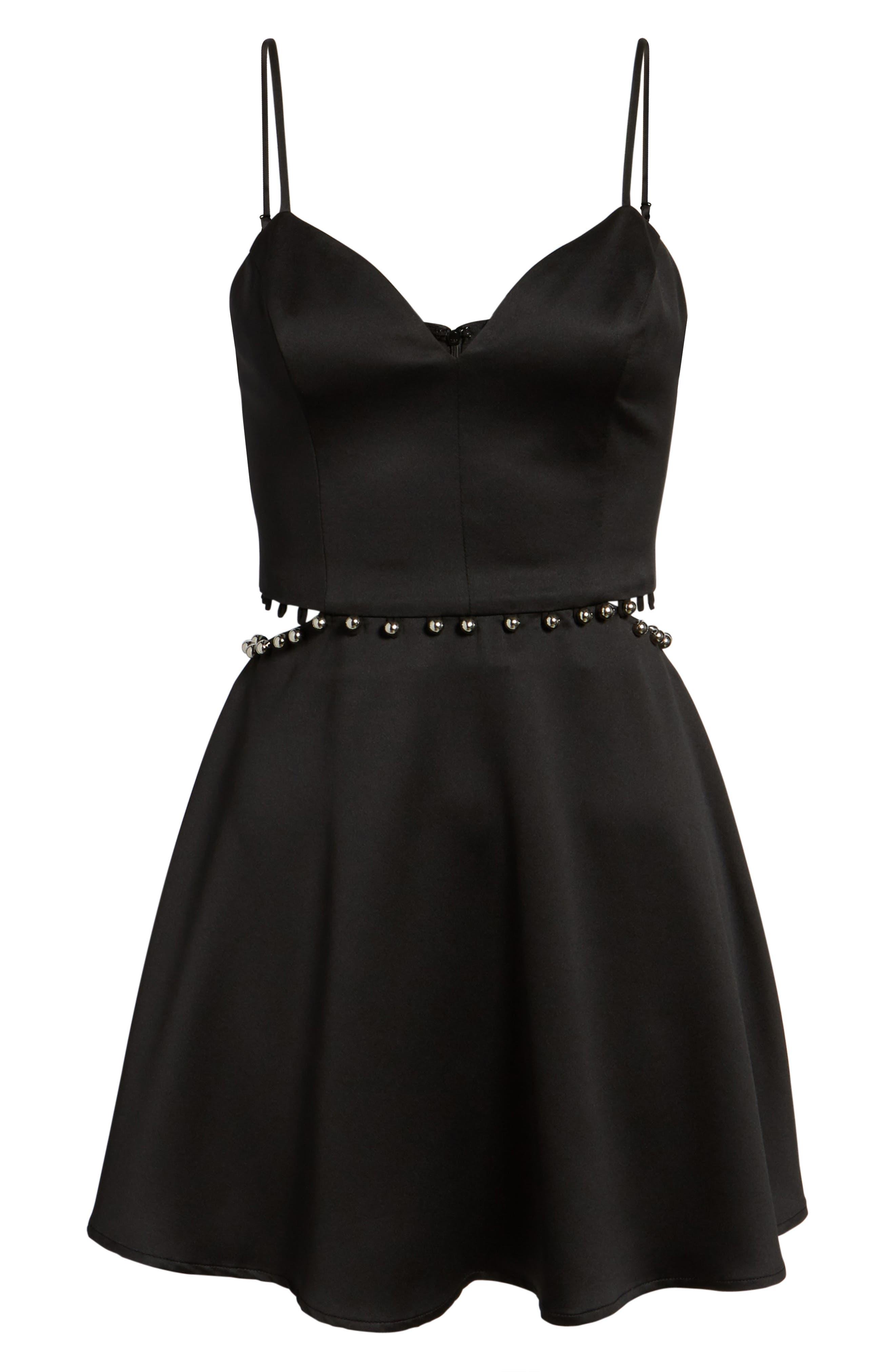 Brandi Fit & Flare Dress,                             Alternate thumbnail 6, color,                             Black