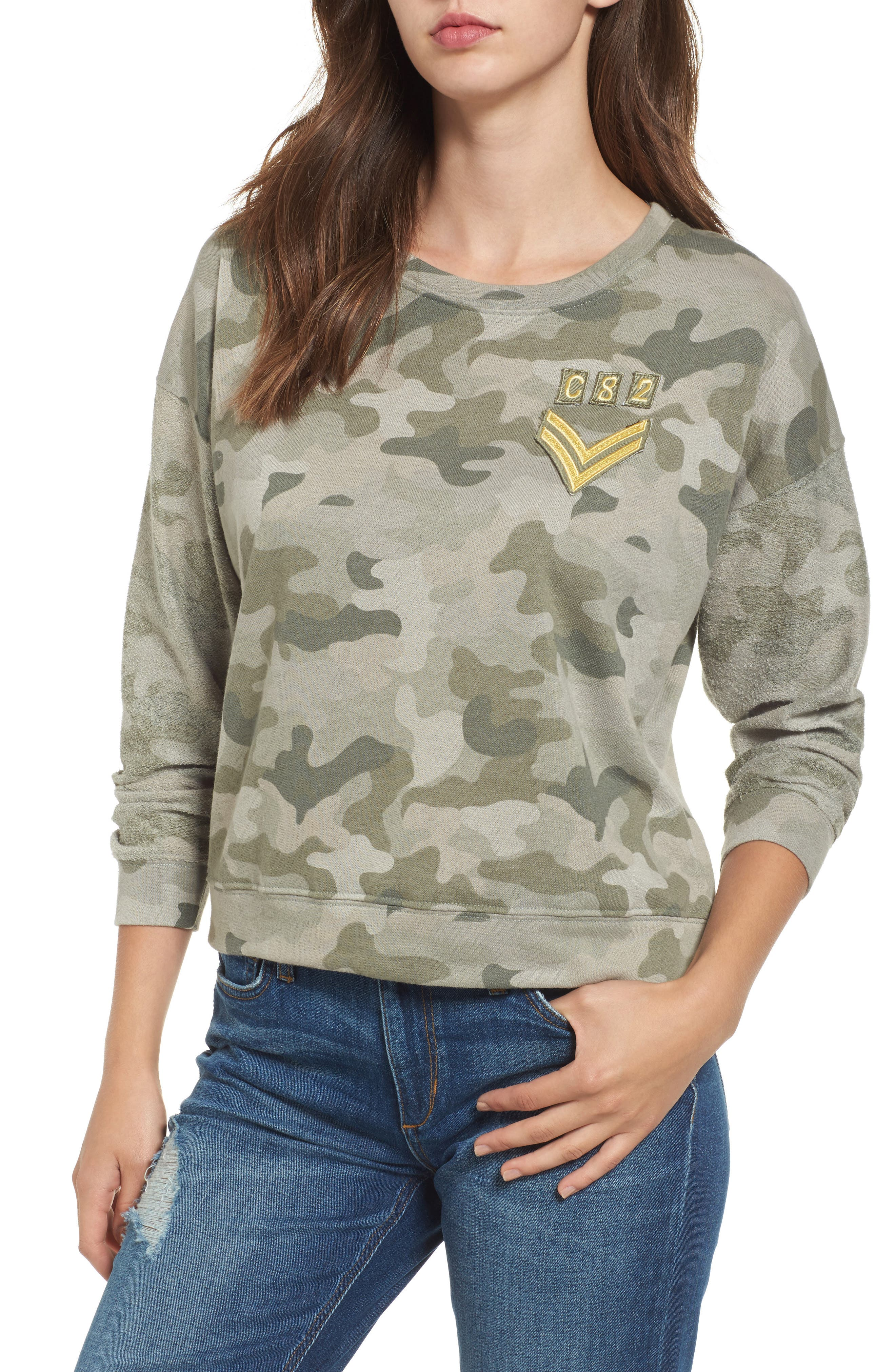 Kelli Camo Print Sweatshirt,                         Main,                         color, Camo