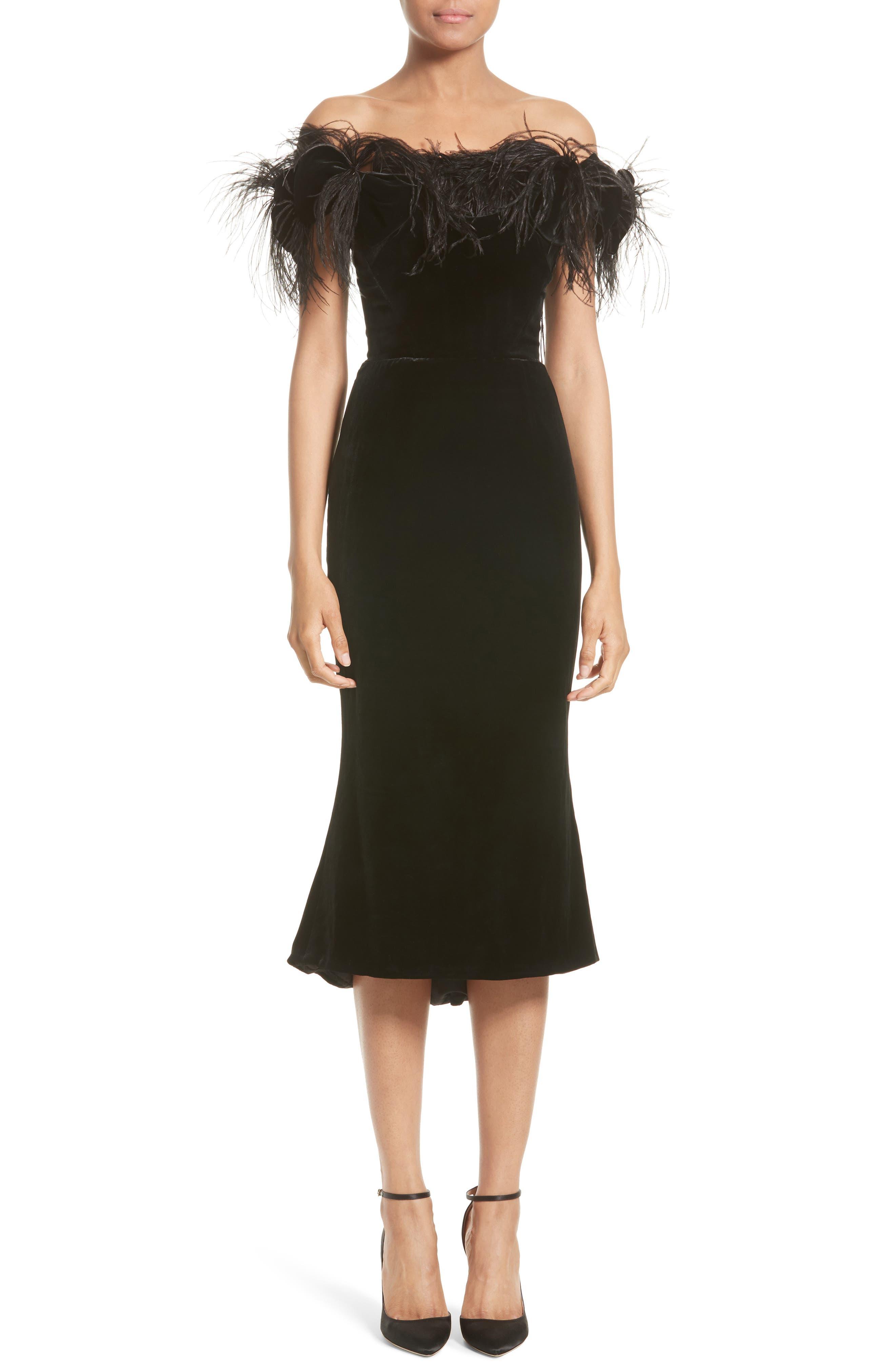 Marchesa Feather Off the Shoulder Velvet Silk Blend Dress