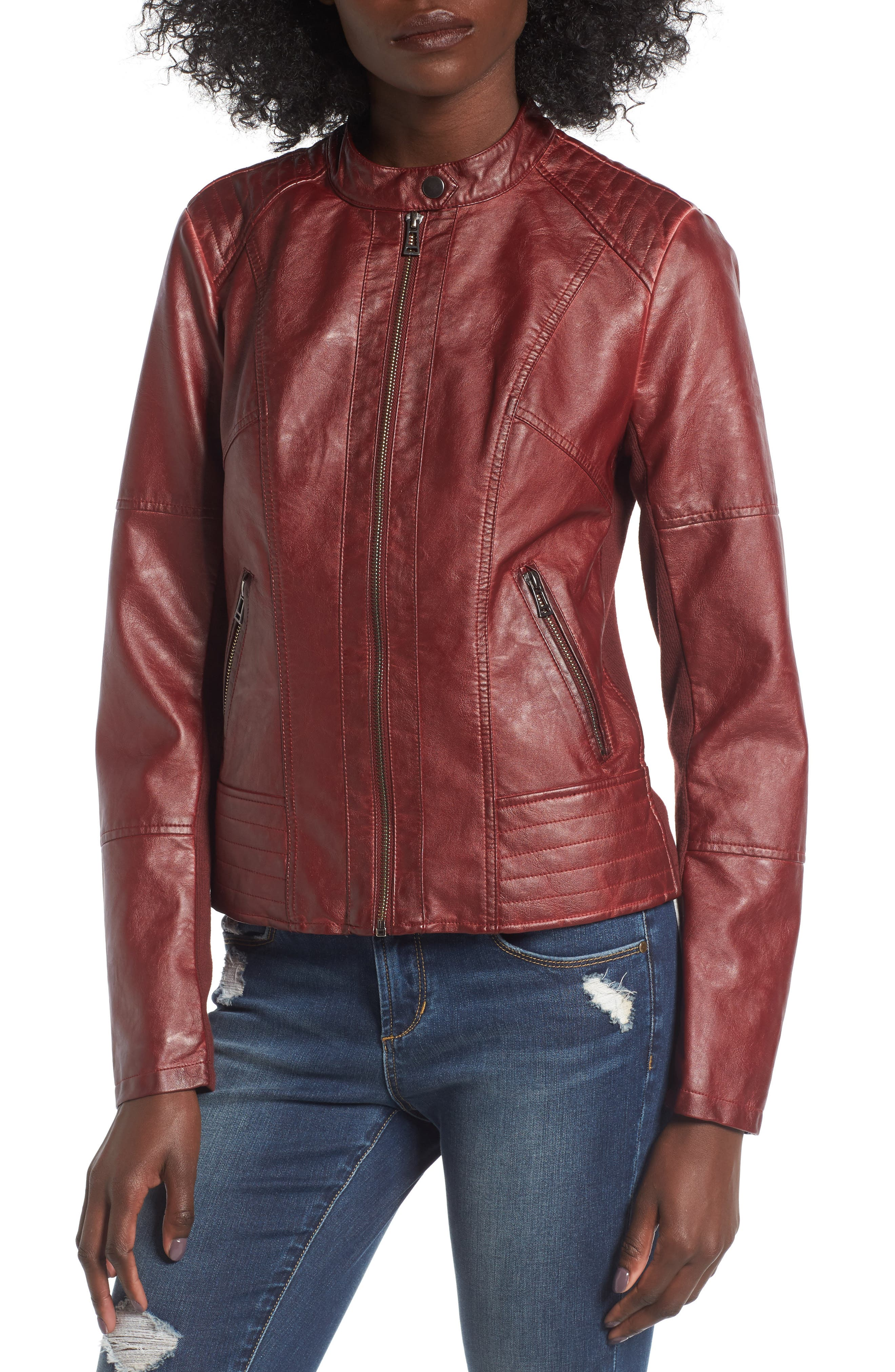 Alternate Image 4  - SEBBY Faux Leather Jacket with Detachable Jersey Hood