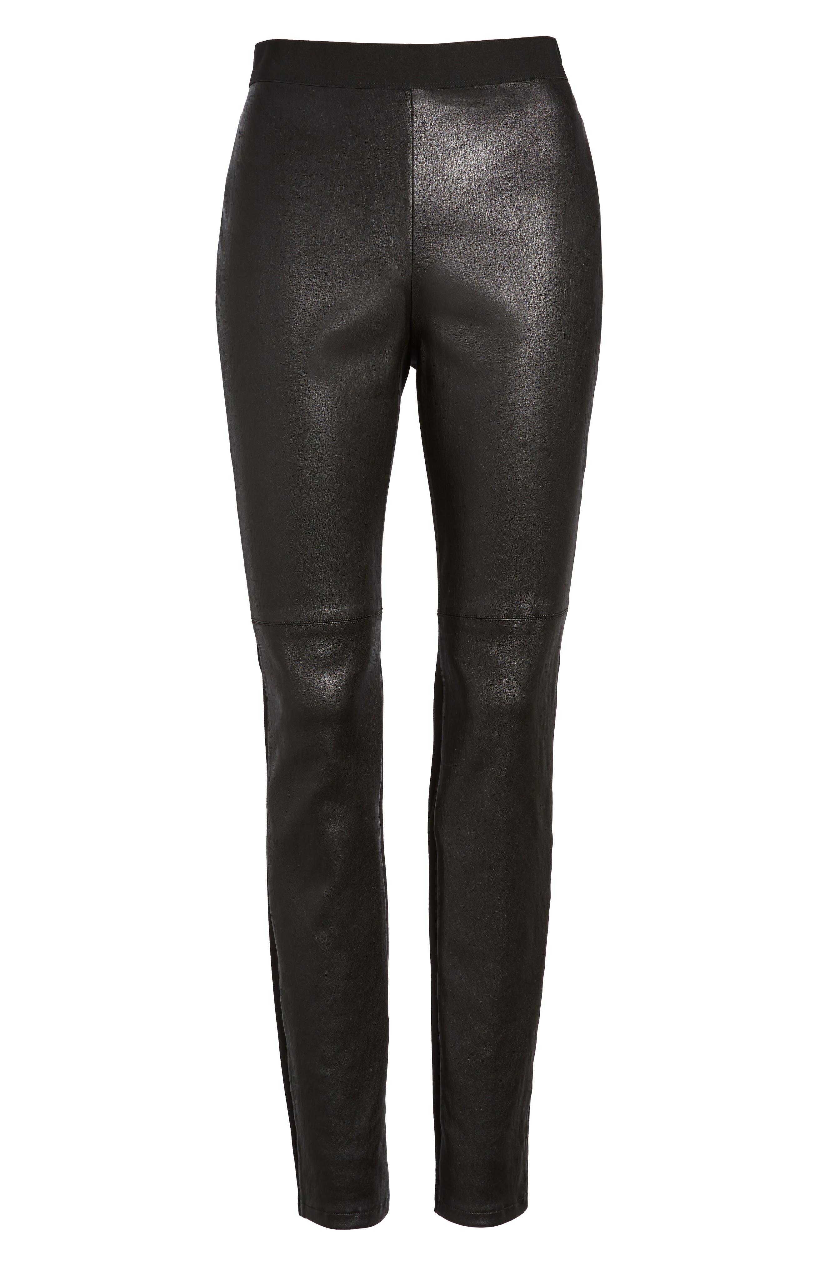 Leather Blocked Leggings,                             Alternate thumbnail 6, color,                             Black