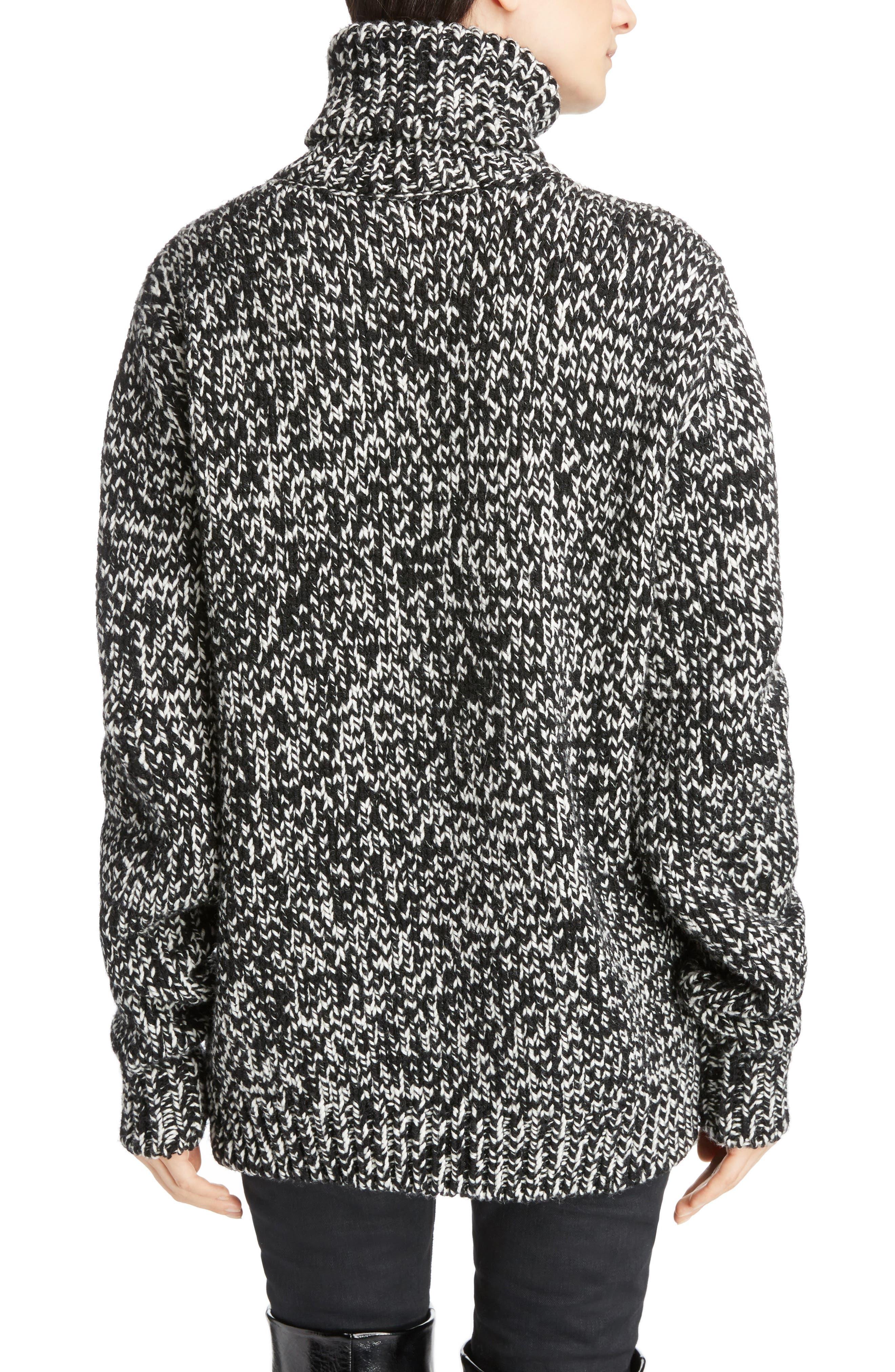 Mélange Knit Wool Turtleneck Sweater,                             Alternate thumbnail 2, color,                             Natural/ Black