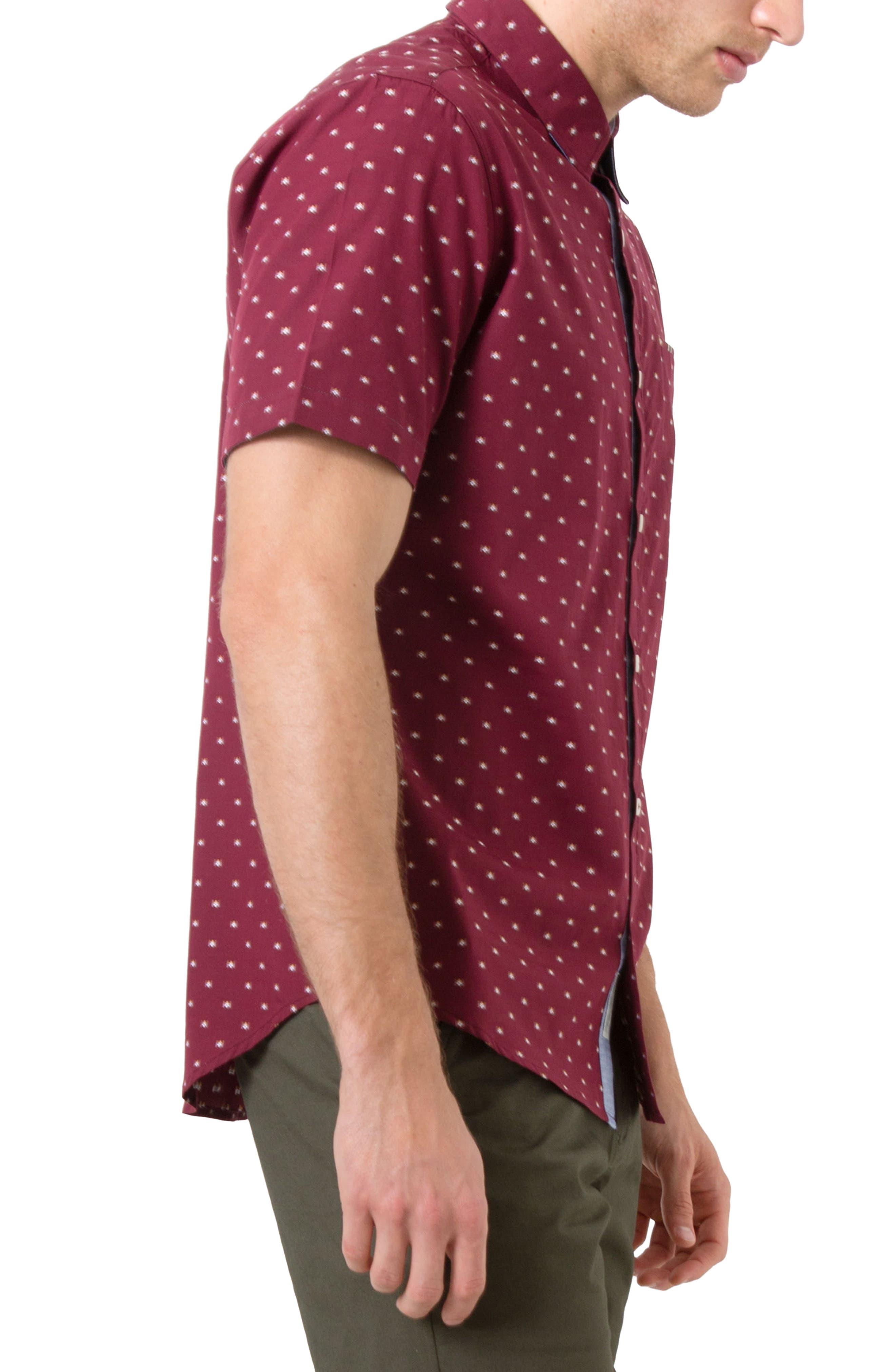 Star Quality Dobby Woven Shirt,                             Alternate thumbnail 3, color,                             Burgundy