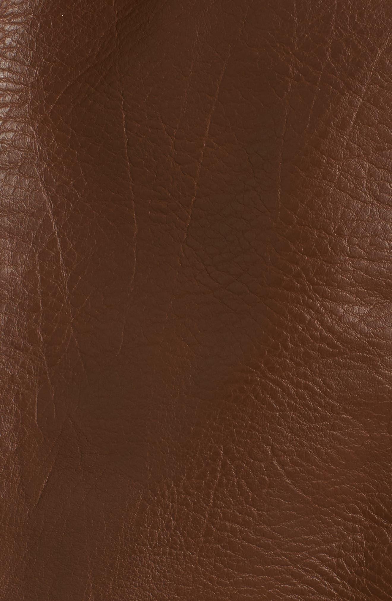 Faux Leather Moto Jacket,                             Alternate thumbnail 6, color,                             Cognac