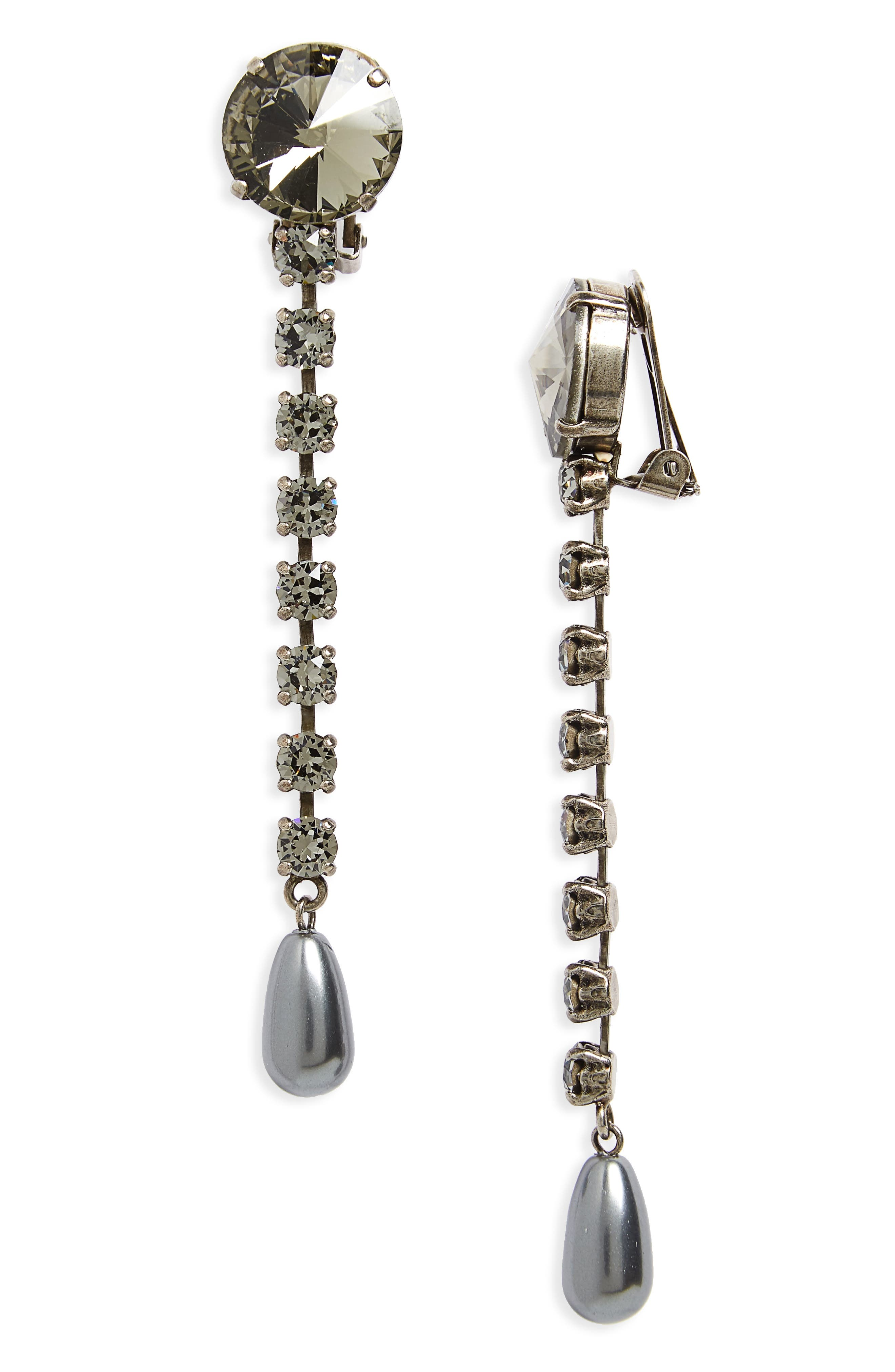 Queen Jewels Classic Crystal & Imitation Pearl Drop Earrings, Dk Grey/ Fume