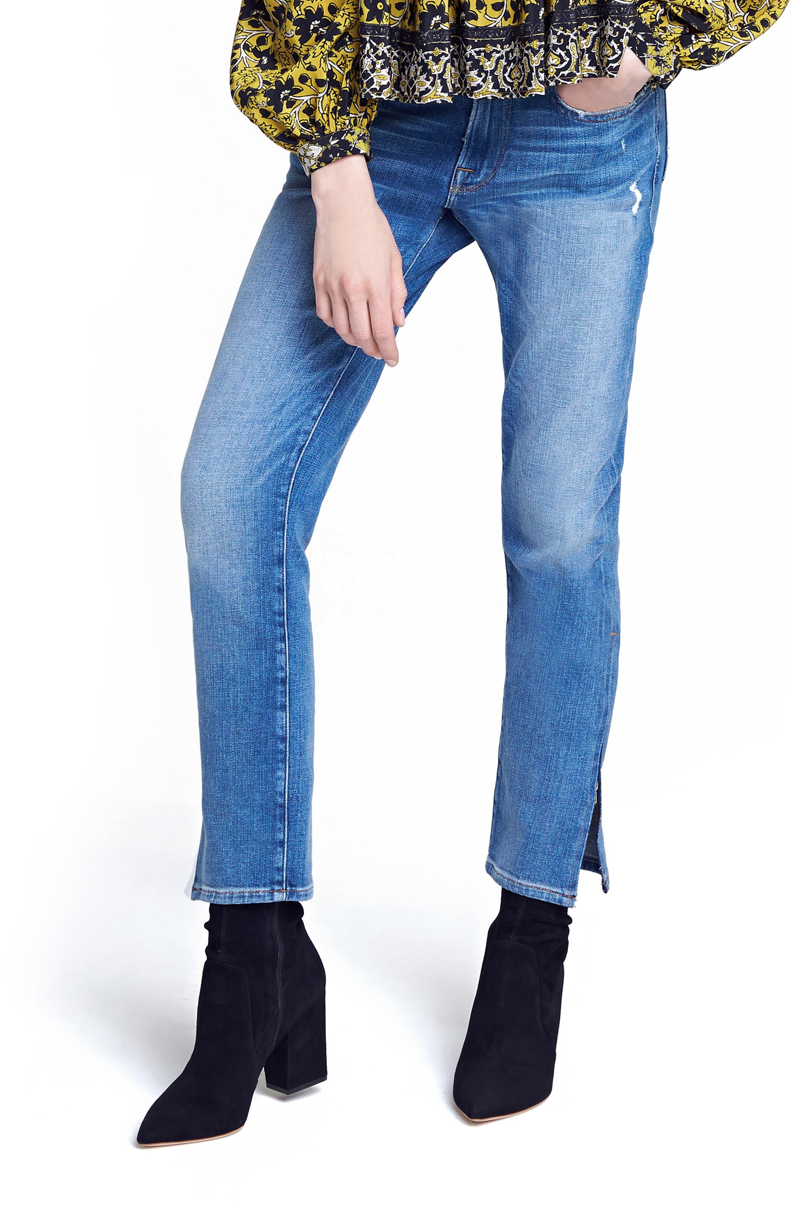 Le Boy Zip Hem Crop Jeans,                         Main,                         color, Picadilly