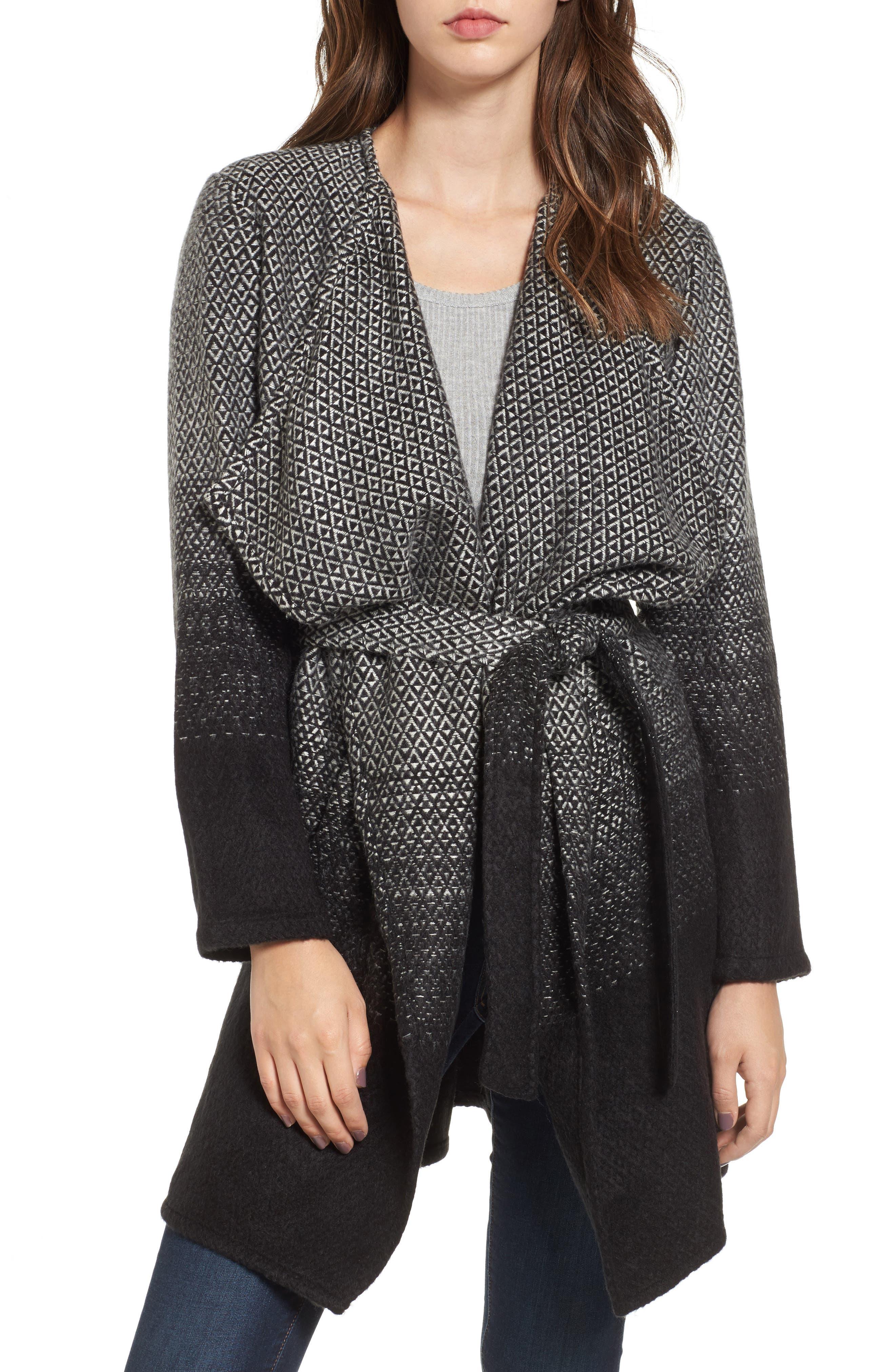 Myles Ombré Blanket Coat,                             Main thumbnail 1, color,                             Black