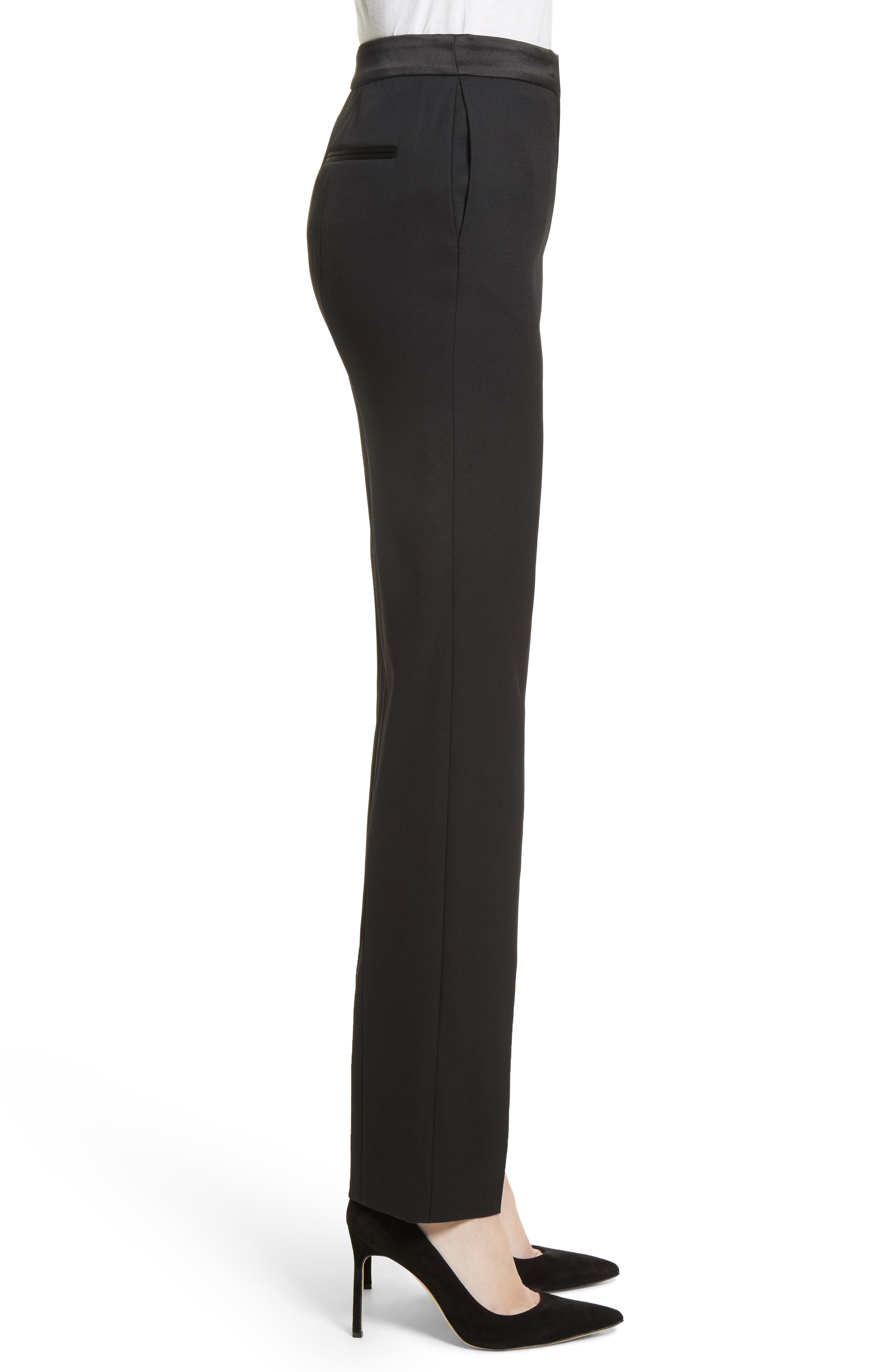 Alternate Image 3  - Oscar de la Renta Satin Trim Stretch Wool Gabardine Pants