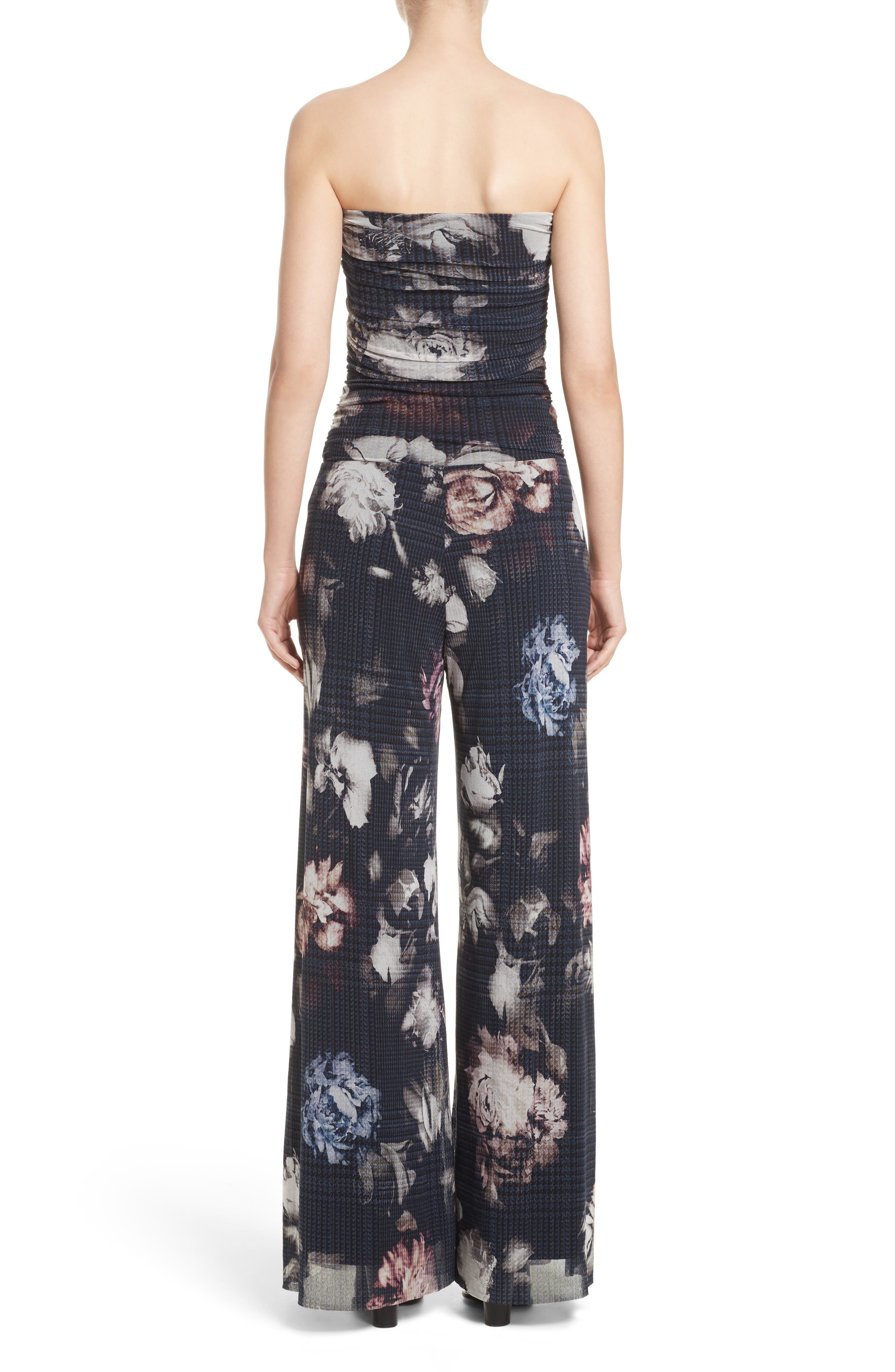 Alternate Image 2  - Fuzzi Floral Print Tulle Strapless Jumpsuit