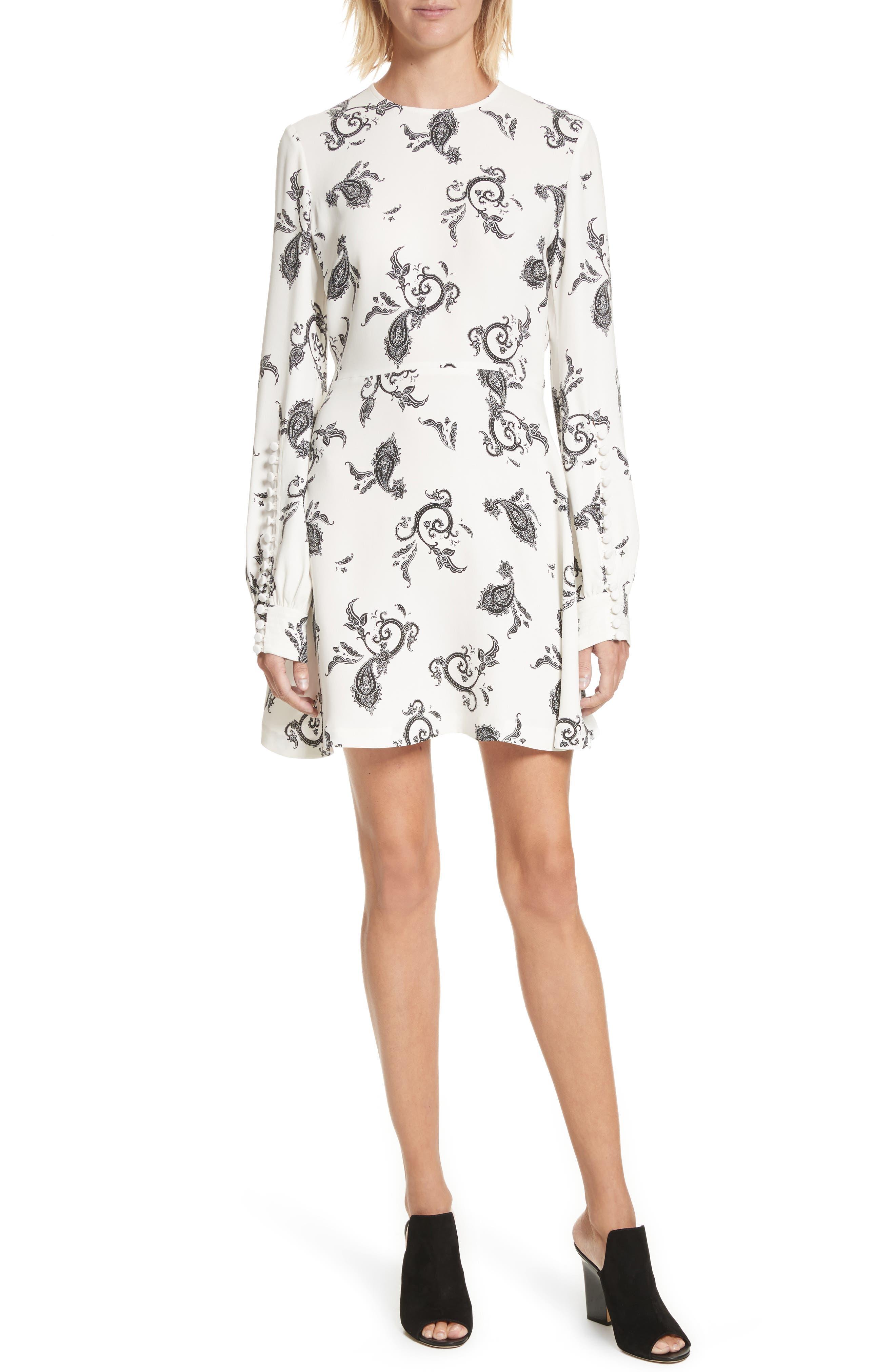 Lauren Print Silk Dress,                         Main,                         color, Eggshell/ Black