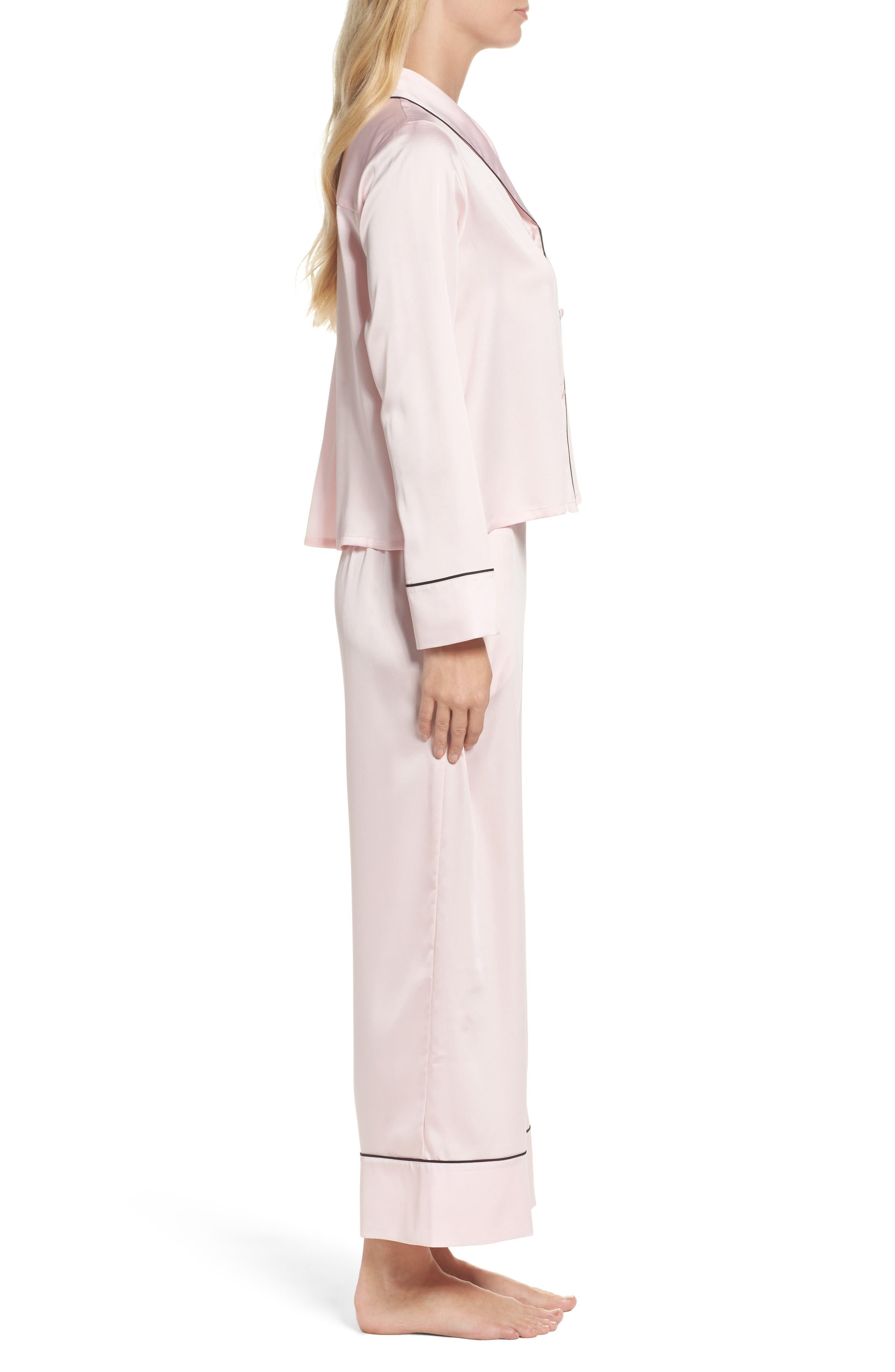 crop pajamas,                             Alternate thumbnail 3, color,                             Pink