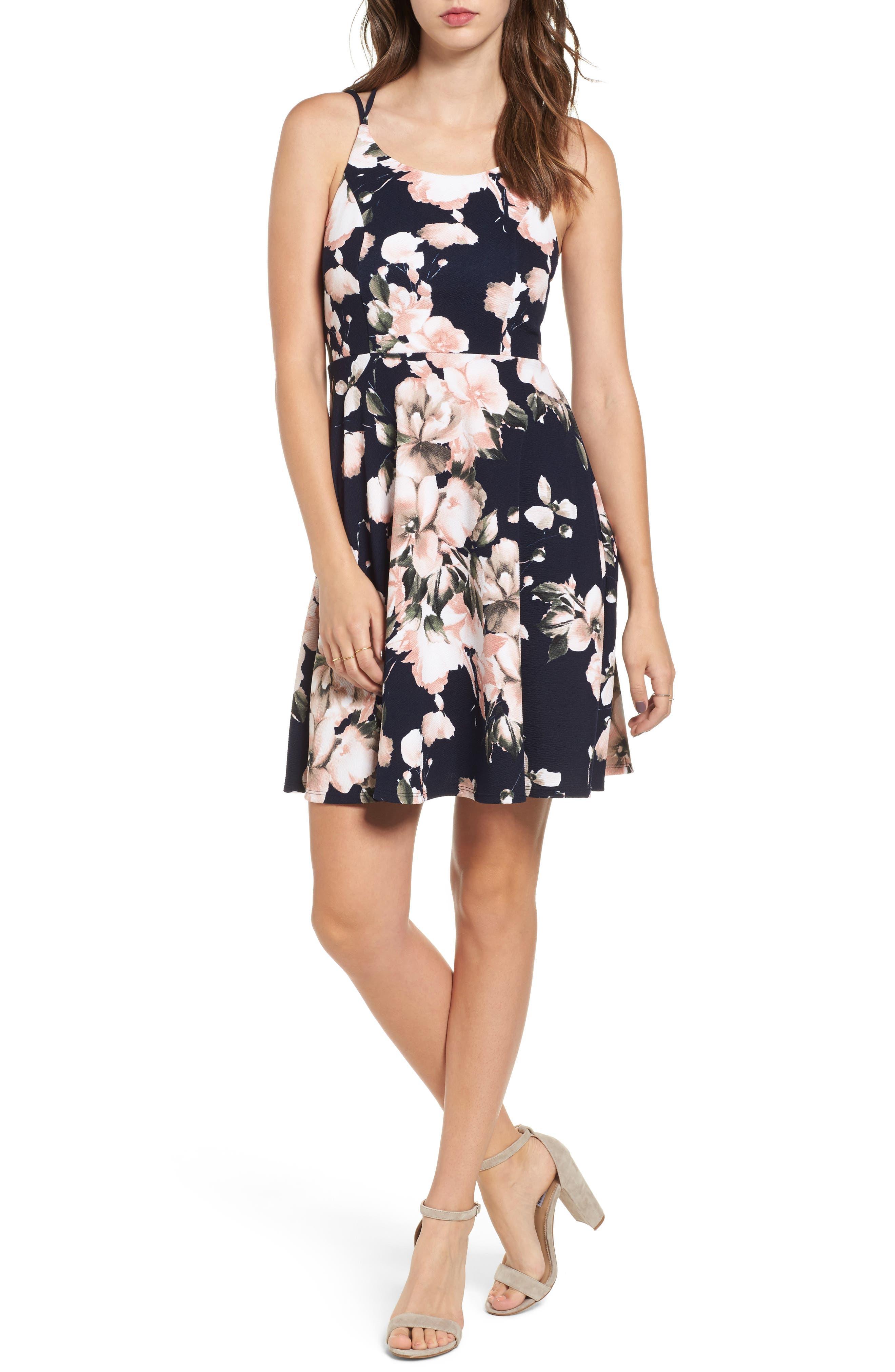 Floral Print Skater Dress,                         Main,                         color, 293 Navy